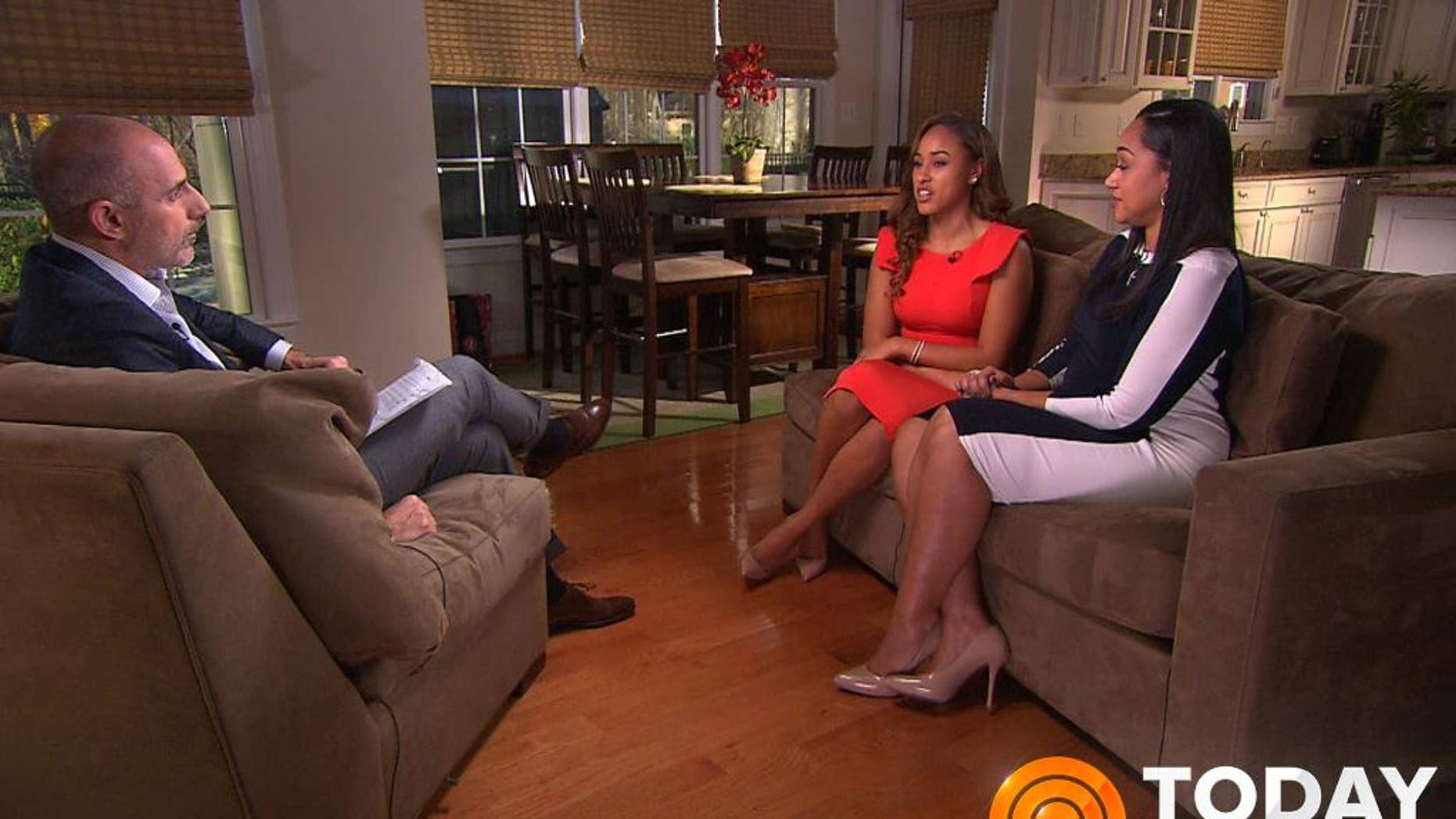 "In this image from video provided by The Today Show, host Matt Lauer, left, interviews Janay Rice, center, and her mother, Candy Palmer. Janay Rice says NFL Commissioner Roger Goodell wasn't being honest when he said Ray Rice was ""ambiguous"" about hitting her in a casino elevator. (AP Photo/The Today Show)"