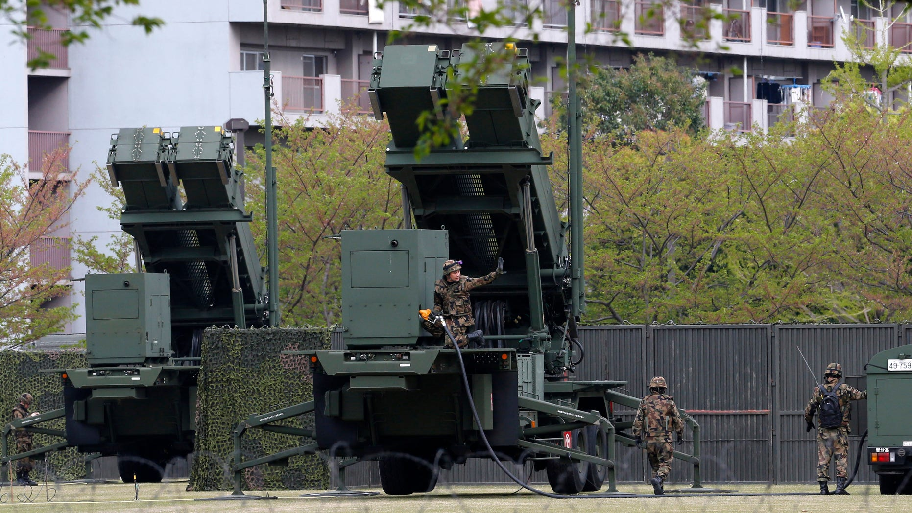 April 12, 2013: Japanese Self Defense Forces personnel refuel a PAC-3 missile interceptor,  deployed at the compound of Japan's Defense Ministry amid a tense situation over a possible missile launch by North Korea in Tokyo.