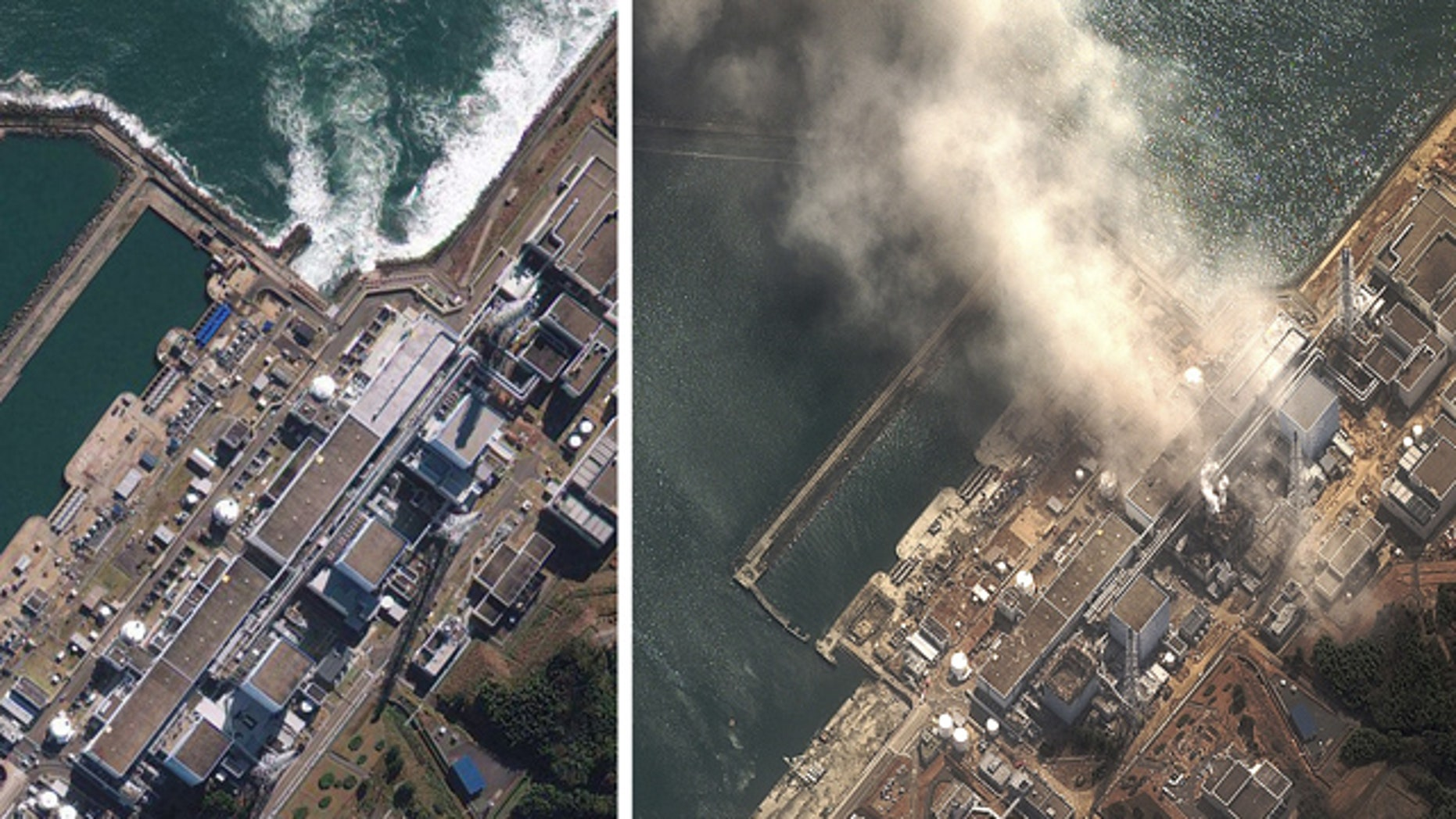 In this file photo combo, the Fukushima Dai-ichi nuclear complex in Japan is shown on Nov. 15, 2009 in a satellite image provided by GeoEye, left, and on Monday, March 14, 2011 in a satellite image provided by DigitalGlobe.