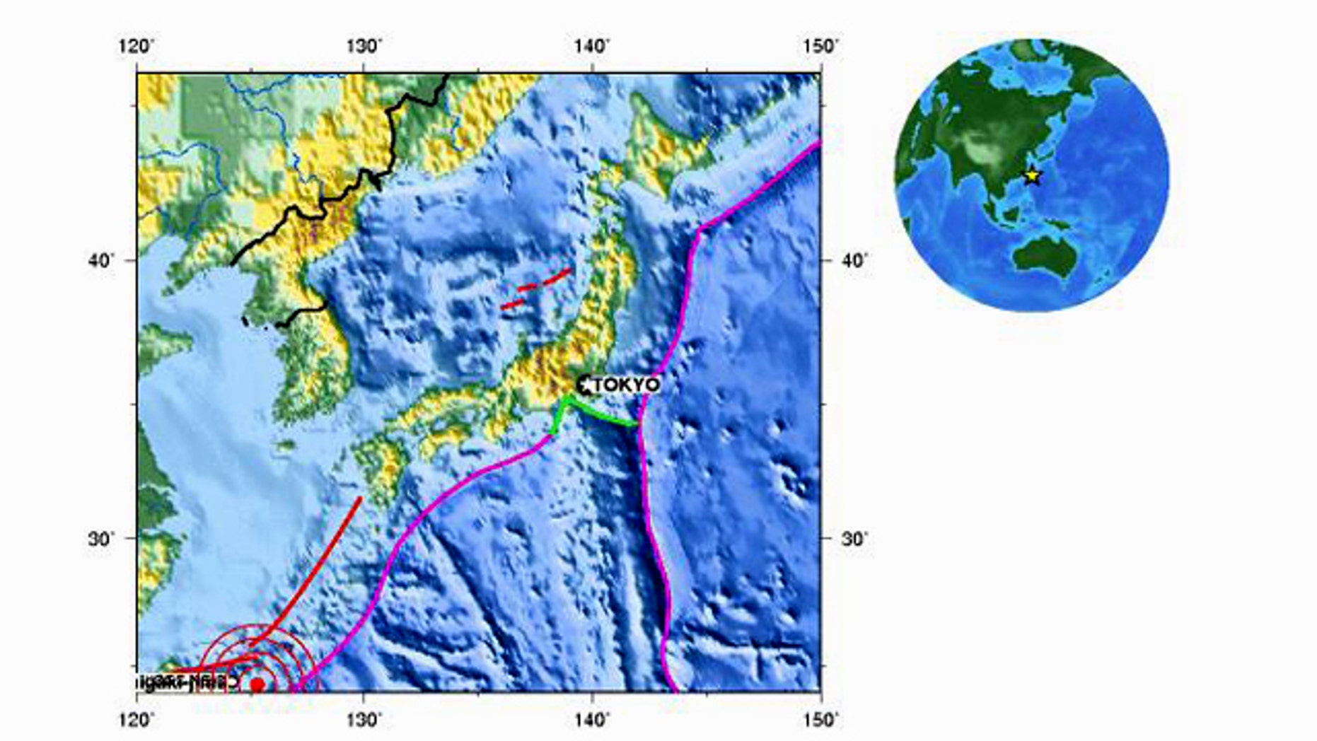 A map from the United States Geological Survey shows the location of an earthquake (at bottom left) that has struck off the coast of Japan Monday, October 4.