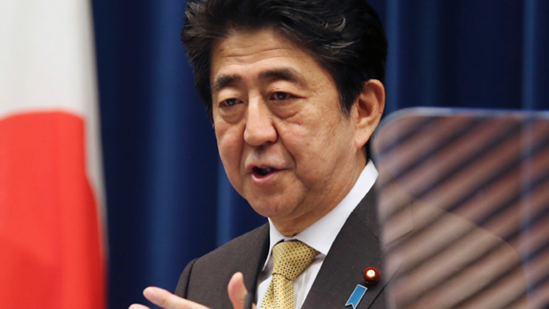 Sept. 25: Japanese Prime Minister Shinzo Abe speaks during a press conference at the Prime Minister's Office in Tokyo.