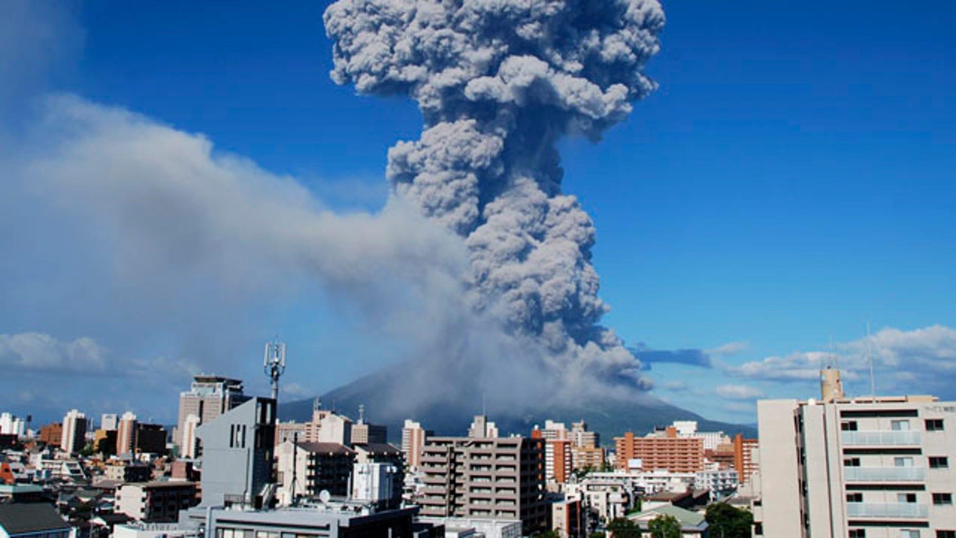 Aug. 18, 2013: Volcanic smoke billows from Mount Sakurajima in Kagoshima, on the southern Japanese main island of Kyushu.
