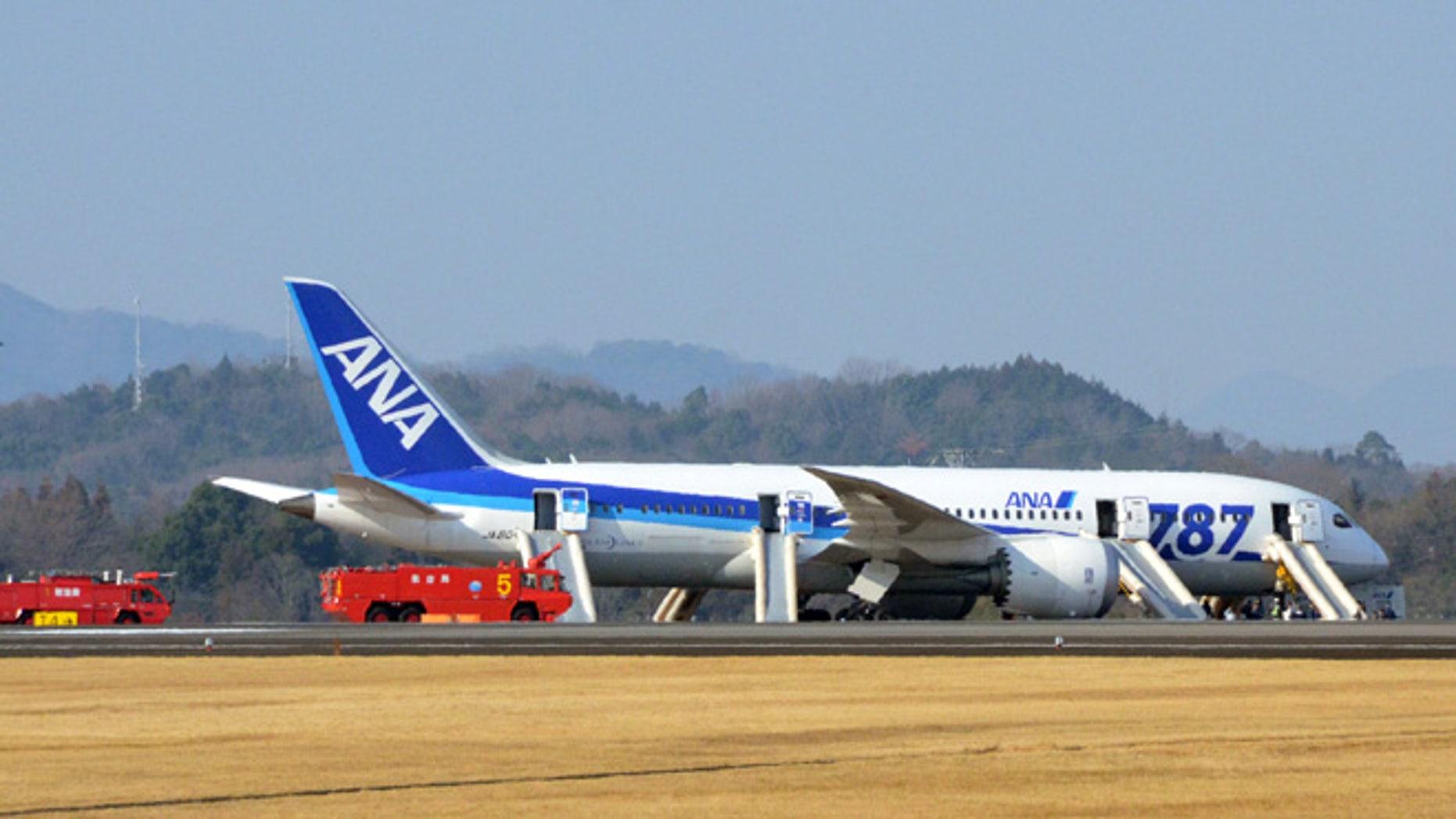 Jan. 16, 2013: An All Nippon Airways flight sits at Takamatsu airport in Takamatsu, western Japan after it made an emergency landing.