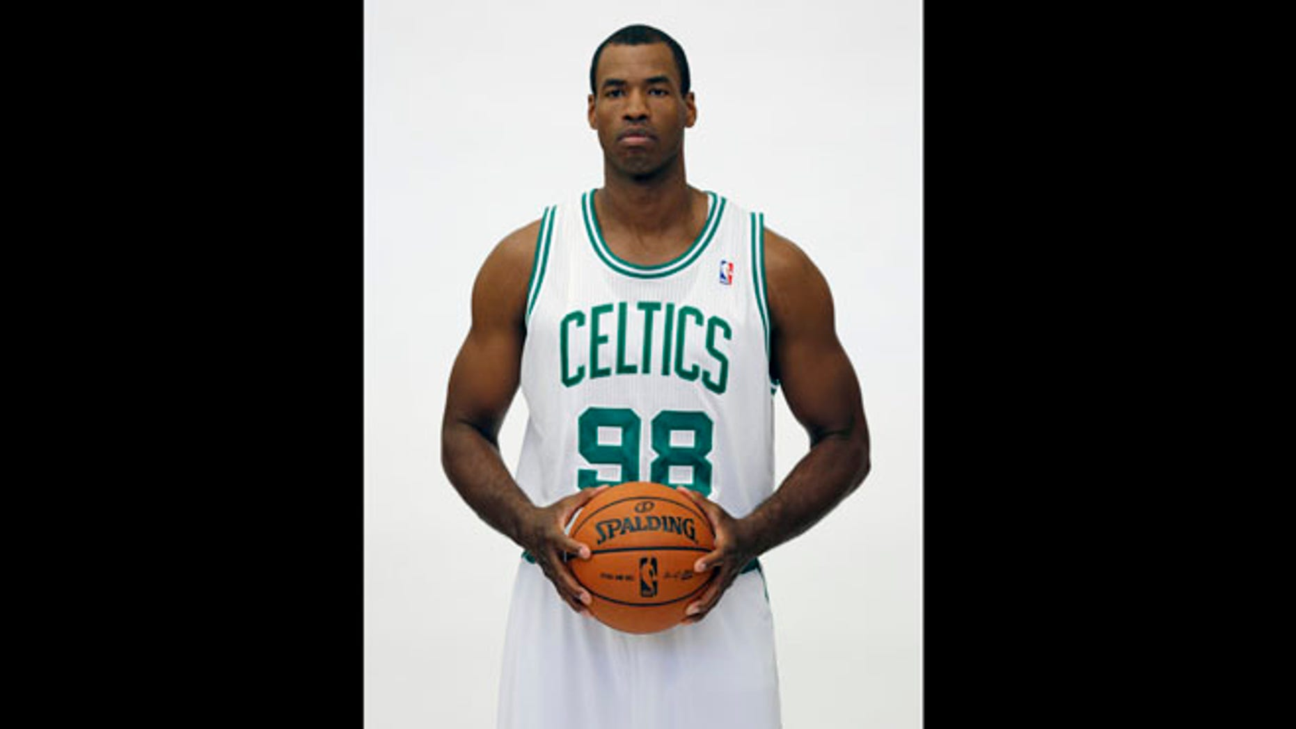 In a Sept. 28, 2012 file photo, former Boston Celtics player Jason Collins poses during Celtics NBA basketball media day. NBA veteran center Collins has become the first male professional athlete in the major four American sports leagues to come out as gay. Collins wrote a first-person account posted April 29, 2013 on Sports Illustrated's website. He finished this past season with the Washington Wizards and is now a free agent.