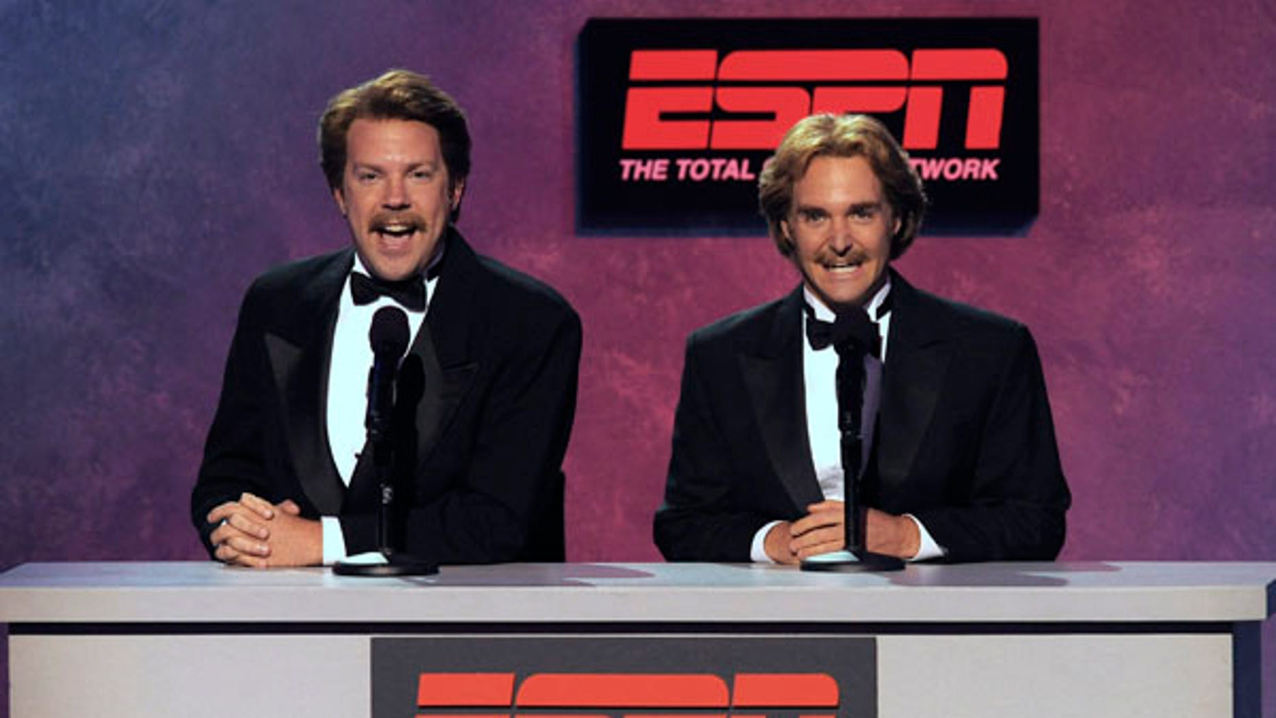 Jason Sudeikis, left, and Will Forte are seen at the ESPY Awards on Wednesday, July 14, 2010 in Los Angeles. (AP Photos/Chris Pizzello)