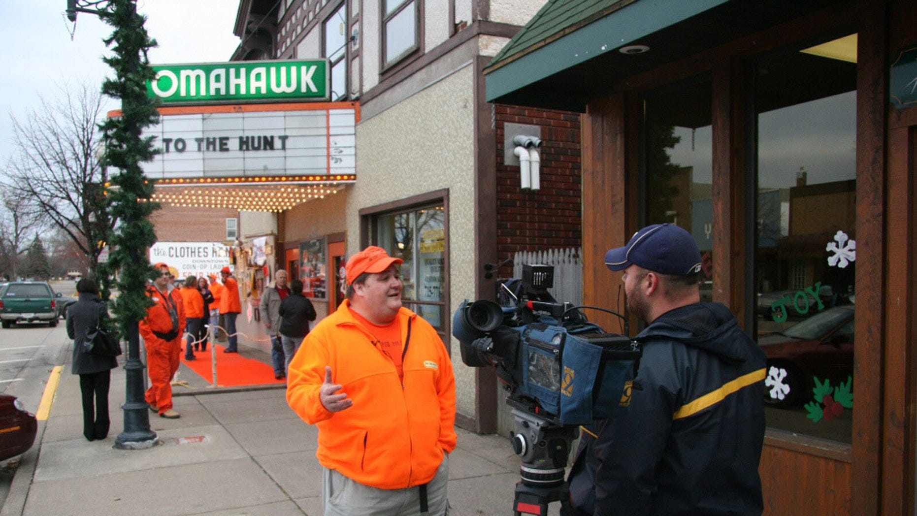 """Jay Leggett gives an interview Nov. 18, 2010, outside the premiere of his documentary """"To the Hunt"""" in Tomahawk, Wis."""
