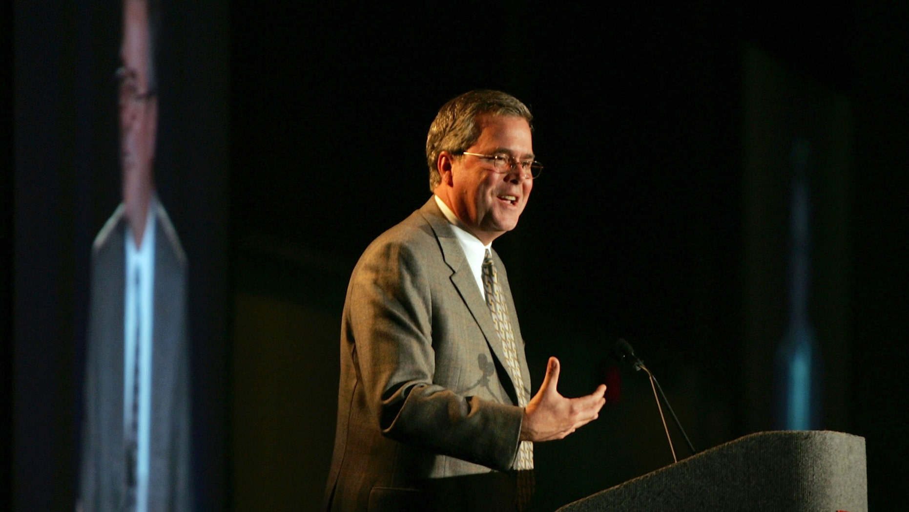FORT LAUDERDALE, FL - MAY 10:  Jeb Bush, Governor of Florida, speaks during the Governor's Hurricane Conference at the Greater Fort Lauderdale/Broward County Convention Center May 10, 2006 in Fort Lauderdale, Florida. The conference brings together emergency managers, forecasters and relief workers to prepare for the upcoming hurricane season.  (Photo by Joe Raedle/Getty Images)