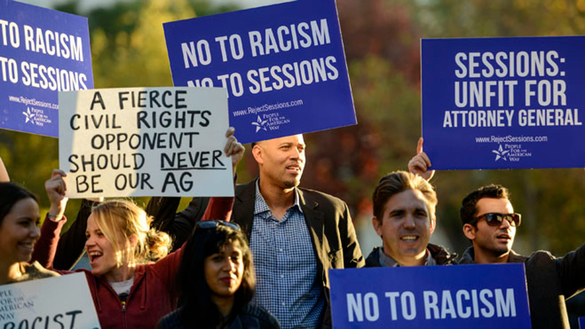 WASHINGTON, DC - NOVEMBER 18: Activists call on senate to reject Jeff Sessions as Attorney General on November 18, 2016 in Washington, DC.  (Photo by Leigh Vogel/Getty Images for People For The American Way)