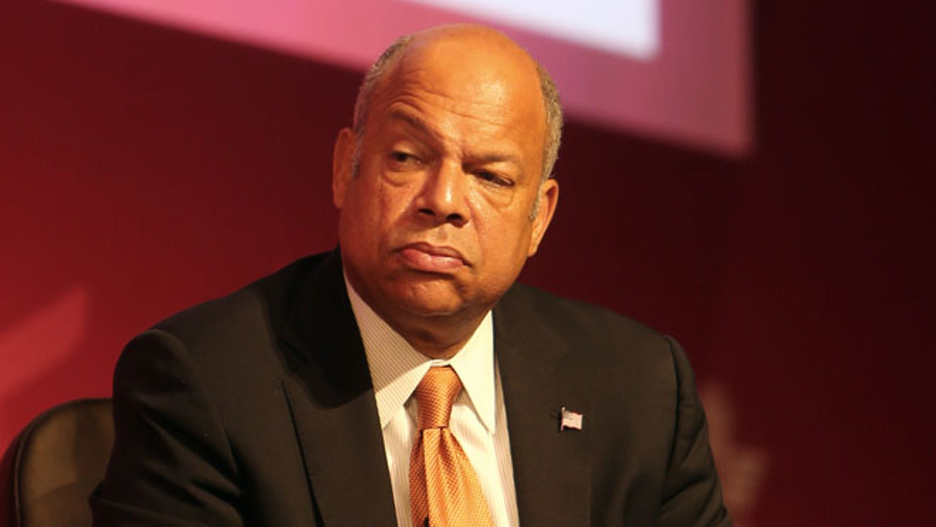 Jeh Johnson, U.S. Secretary of Homeland Security takes part in a panel discussion at the 70th International Air Transport Association (IATA) in Doha, Qatar, Tuesday, June 3, 2014.