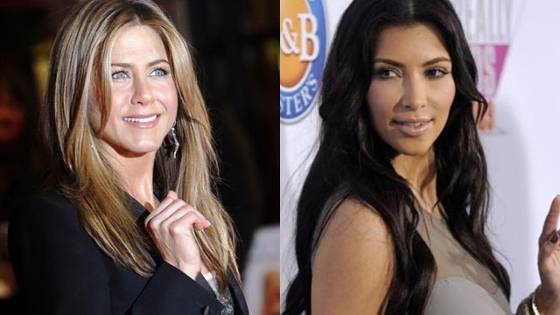 Jennifer Aniston (left) and Kim Kardashian