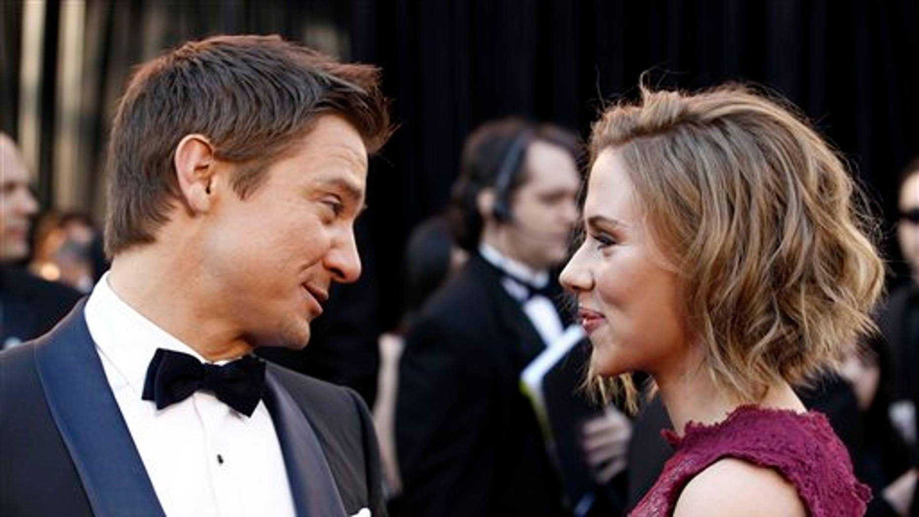 Jeremy Renner and Scarlett Johannson. (AP)