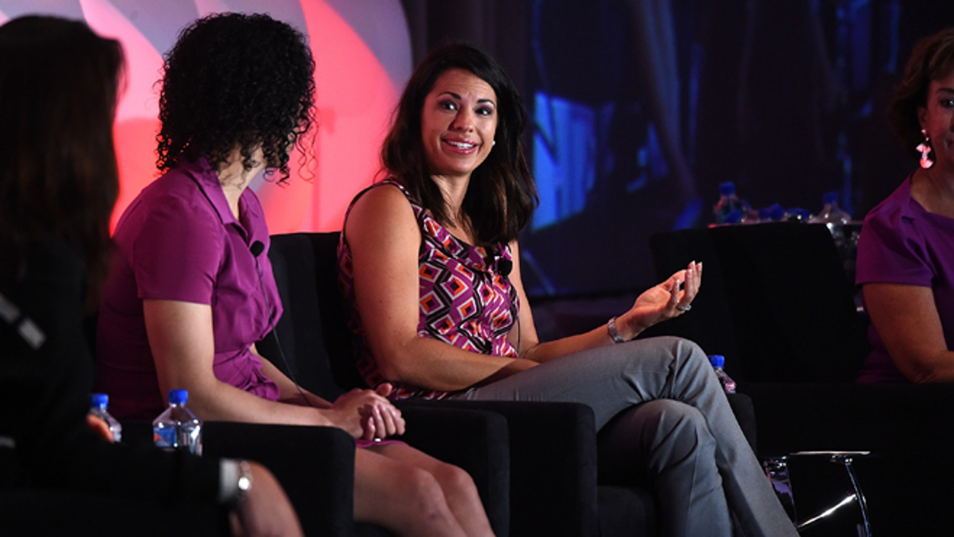NEW YORK, NY - SEPTEMBER 15:  Olympic Gold & Silver Medalist Analyst & Reporter, ESPN Jessica Mendoza moderator at the 2014 Women in Cable Telecommunications Leadership Conference on September 16, 2014 in New York City.  (Photo by Larry Busacca/Getty Images for Women in Cable Telecommunications)