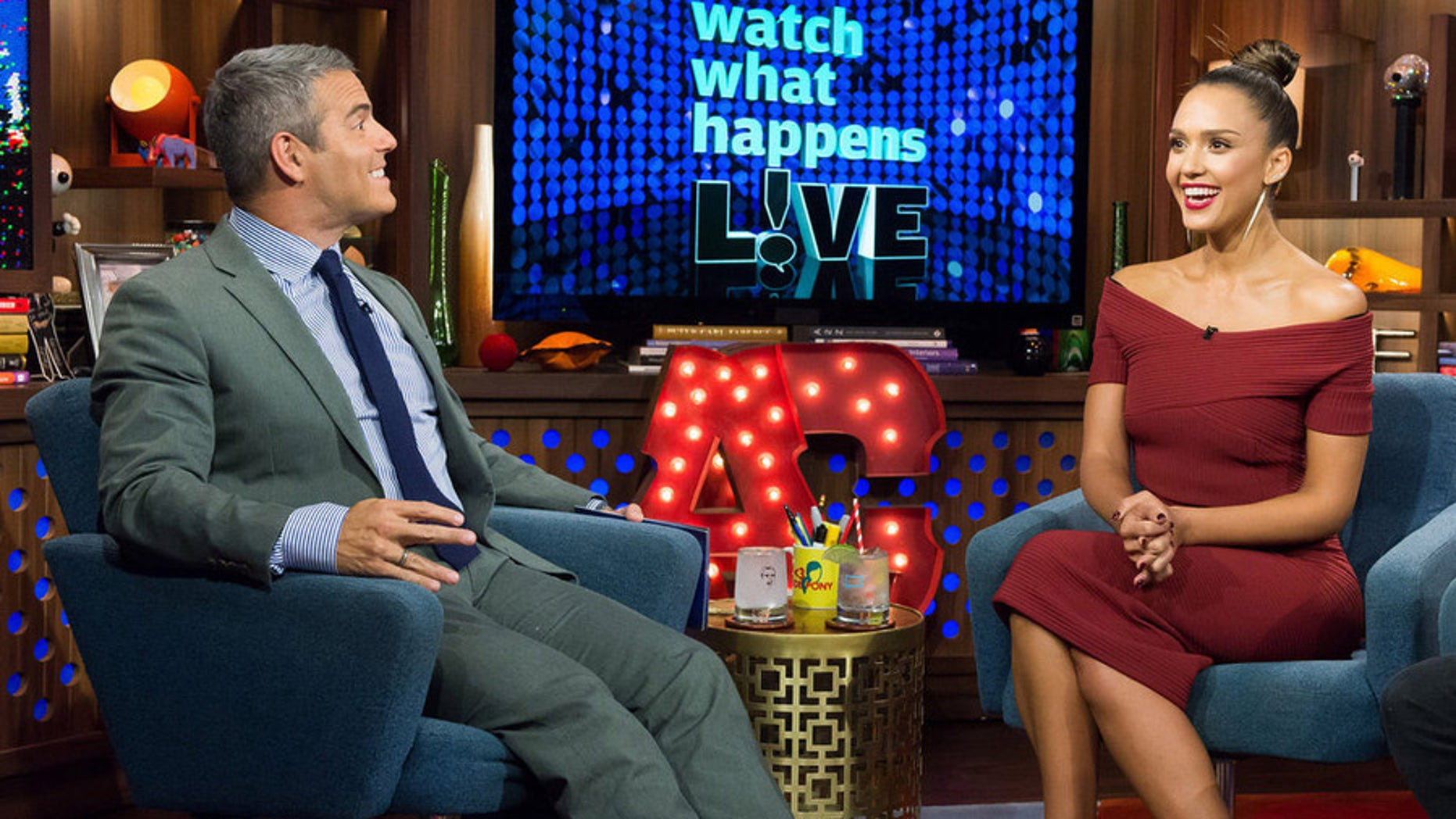 WATCH WHAT HAPPENS LIVE -- Episode 12145 -- Pictured: (l-r) Andy Cohen, Jessica Alba -- (Photo by: Charles Sykes/Bravo)
