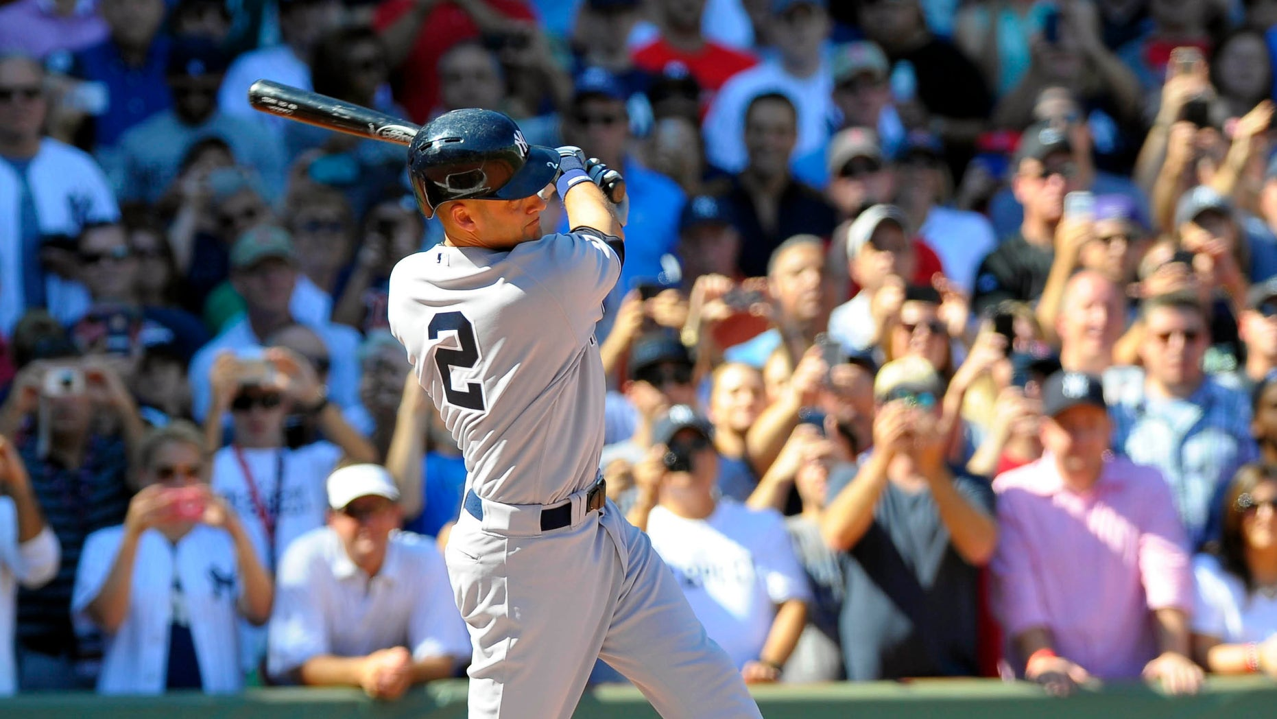 Sep 27, 2014; Boston, MA, USA; New York Yankees shortstop Derek Jeter (2) at bat during the first inning against the Boston Red Sox at Fenway Park. Mandatory Credit: Bob DeChiara-USA TODAY Sports - RTR47YY0