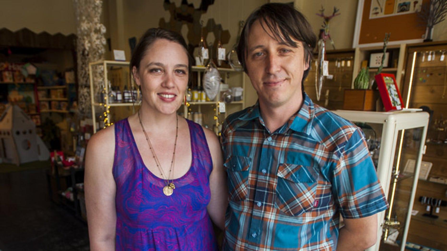 Jillian Johnson, victim of movie theater shooting in Lafayette, with her husband Jason Brown.  (Paul Kieu, The Advertiser)