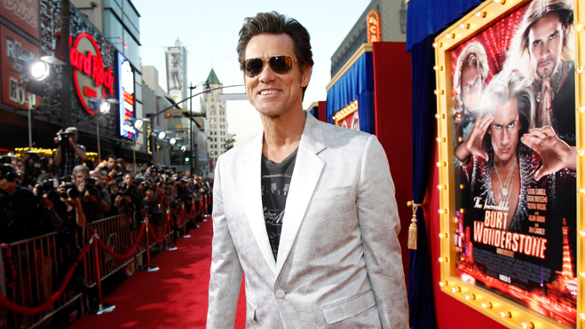"Cast member Jim Carrey attends the premiere of ""The Incredible Burt Wonderstone"" in Hollywood, California March 11, 2013."
