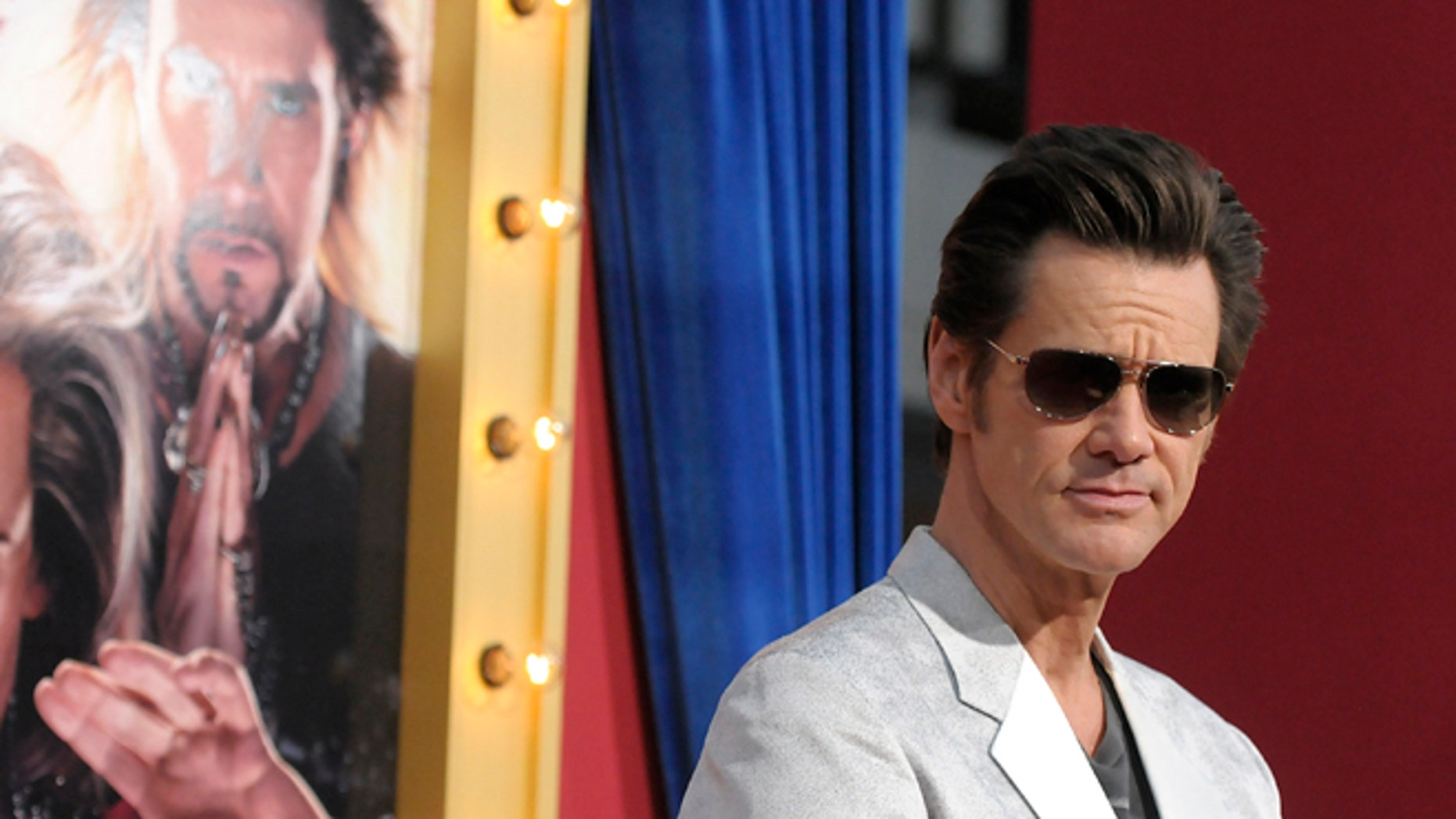 """March 11, 2013: Actor Jim Carrey arrives at the world premiere of the feature film """"The Incredible Burt Wonderstone"""" at the TCL Chinese Theatre in Los Angeles."""