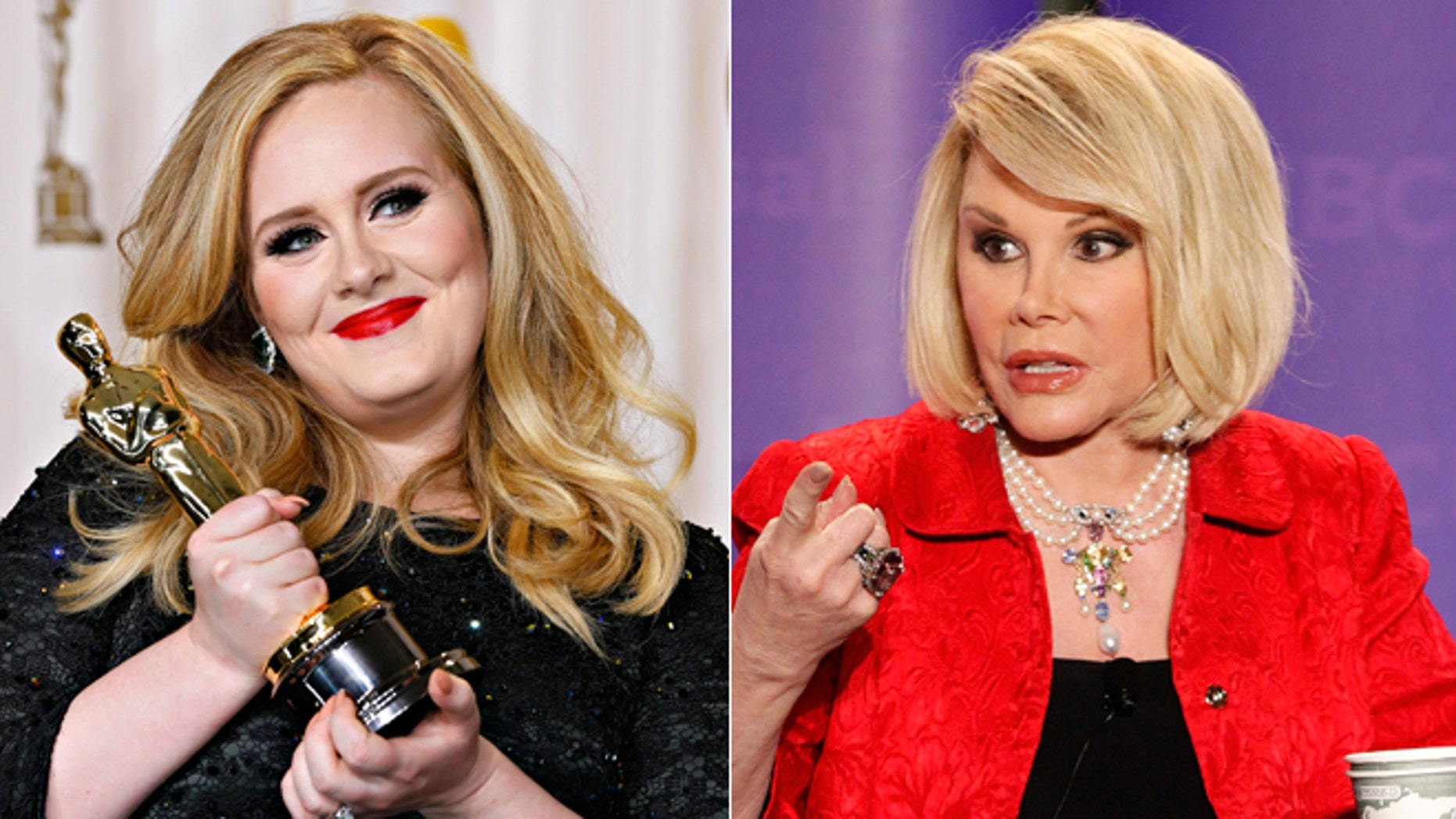 Adele, left, Joan Rivers, right.