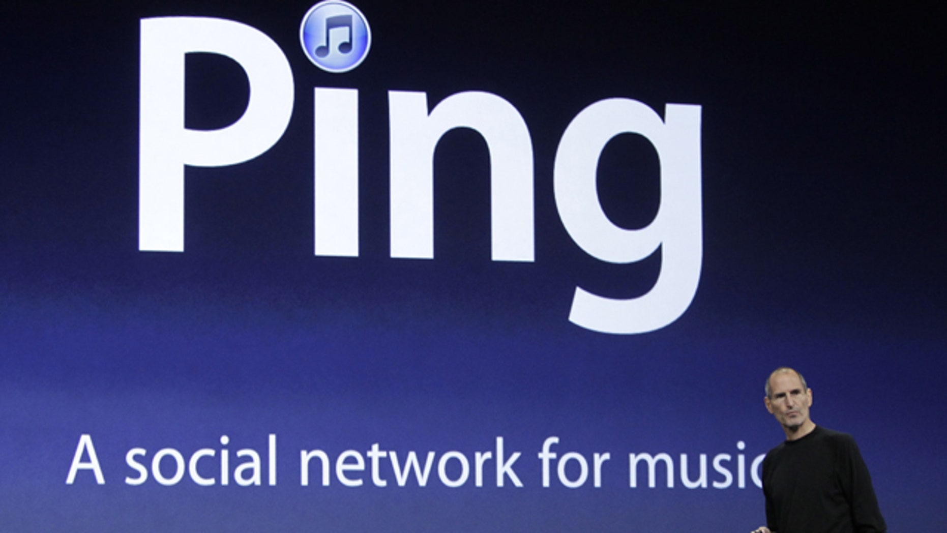 Apple CEO Steve Jobs unveils Ping, a social network for music, at a news conference in San Francisco, Wednesday, Sept. 1, 2010.