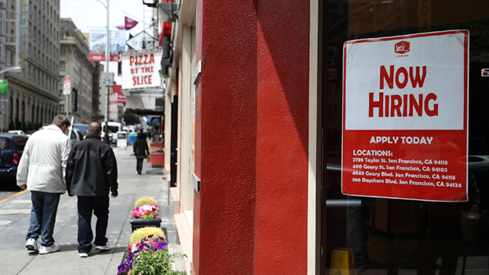 SAN FRANCISCO, CA - JULY 08:  A 'now hiring' sign is posted in the window of a fast food restaurant on July 8, 2016 in San Francisco, California. According to the the U.S. Labor Department, employment growth surged with 287,000 added jobs in June. The unemployment rate inched up to 4.9% from 4.7% with an estimated 400,000 people returning to the workforce, many who had given up on job searches.   (Photo by Justin Sullivan/Getty Images)
