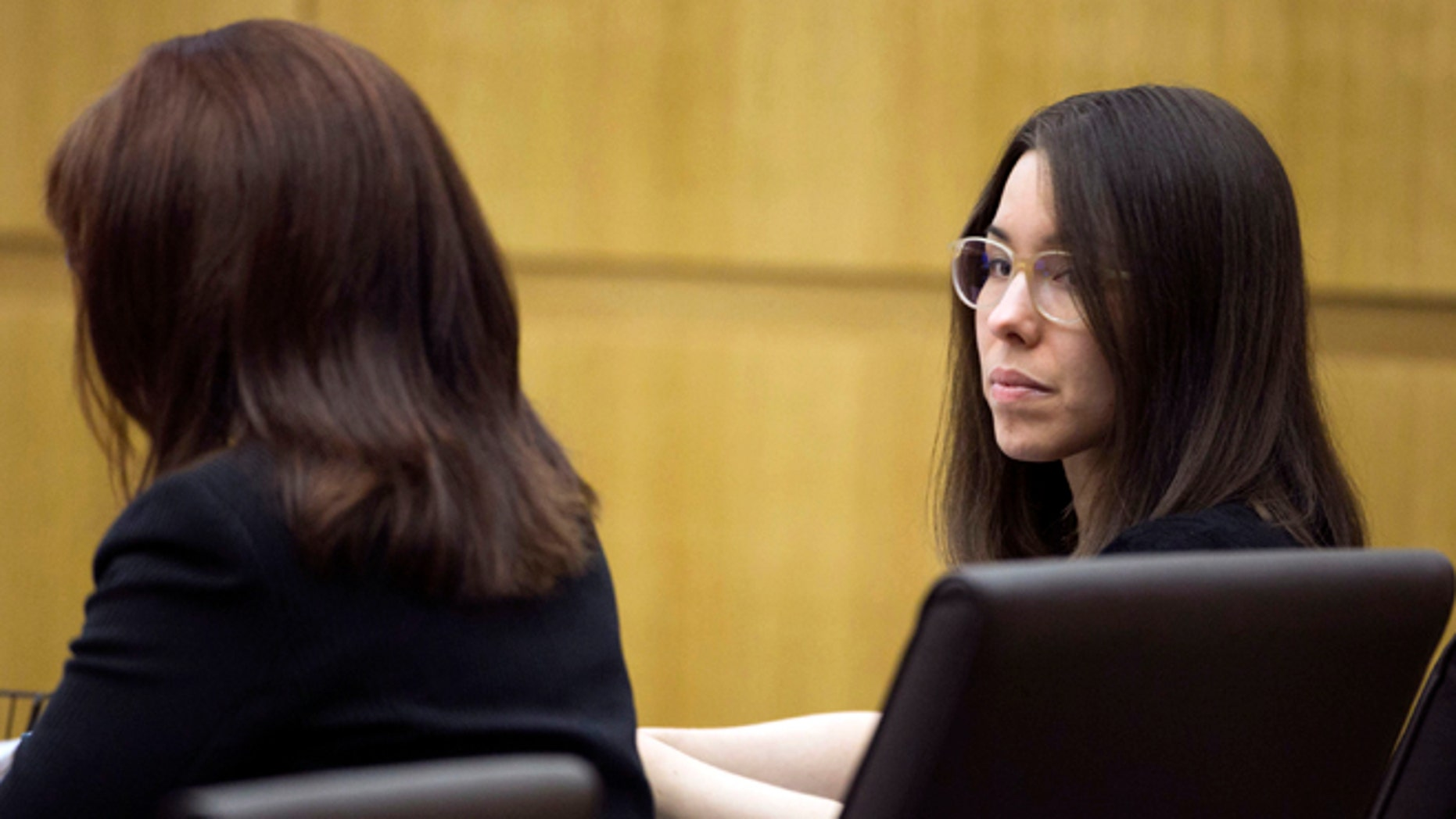 Jodi Arias looks on during the sentencing phase retrial of Jodi Arias at Maricopa County Superior Court in Phoenix on Thursday, Oct. 30, 2014. Arias was found guilty of first degree murder in the death of former boyfriend Travis Alexander, but the jury hung on the penalty phase, life in prison or the death sentence.  (AP Photo/The Arizona Republic,David Wallace, Pool)