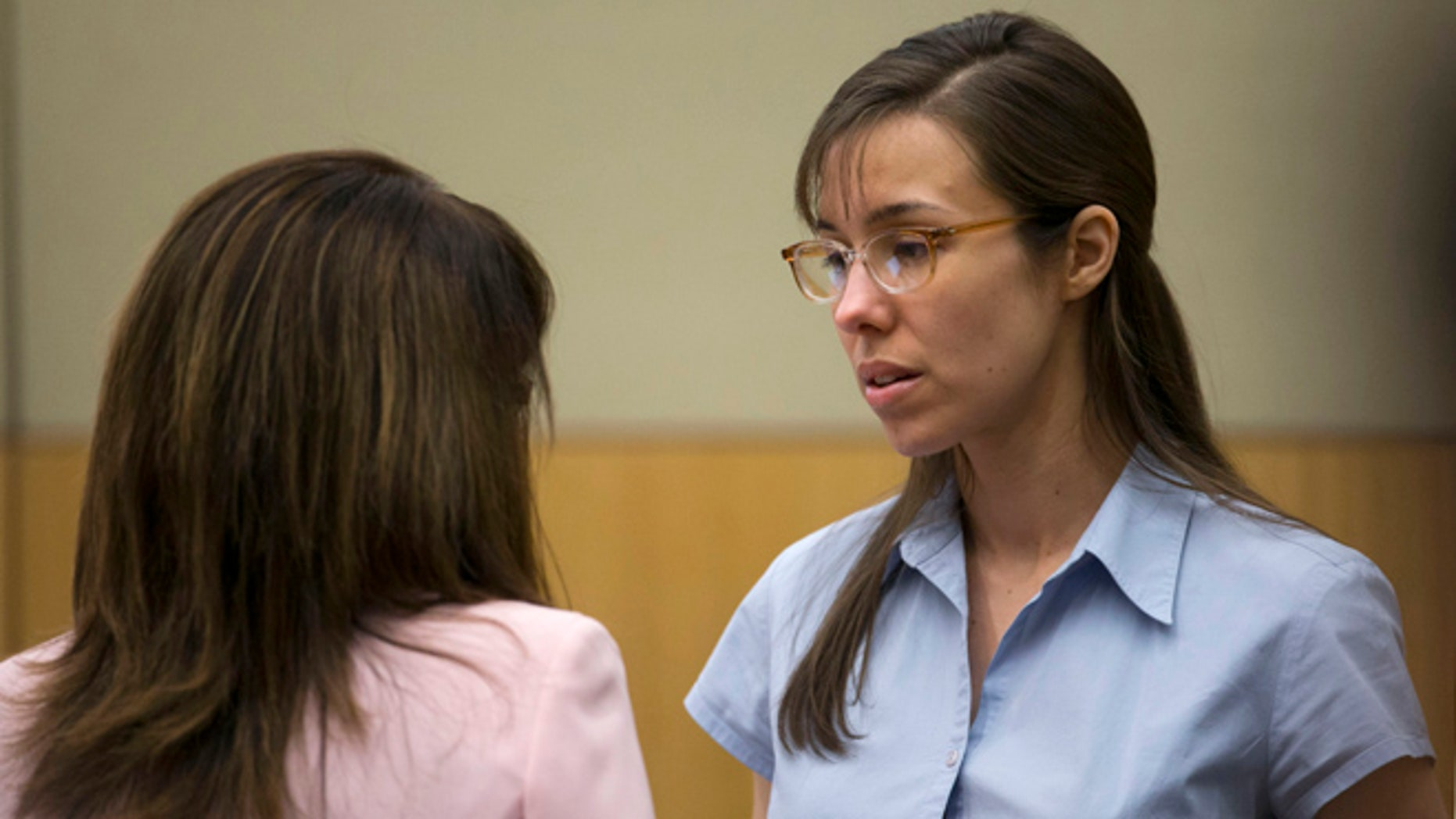 April 10, 2013: Jodi Arias, right, talks to her attorney, Jennifer Wilmott during her trial at Maricopa County Superior Court in Phoenix.