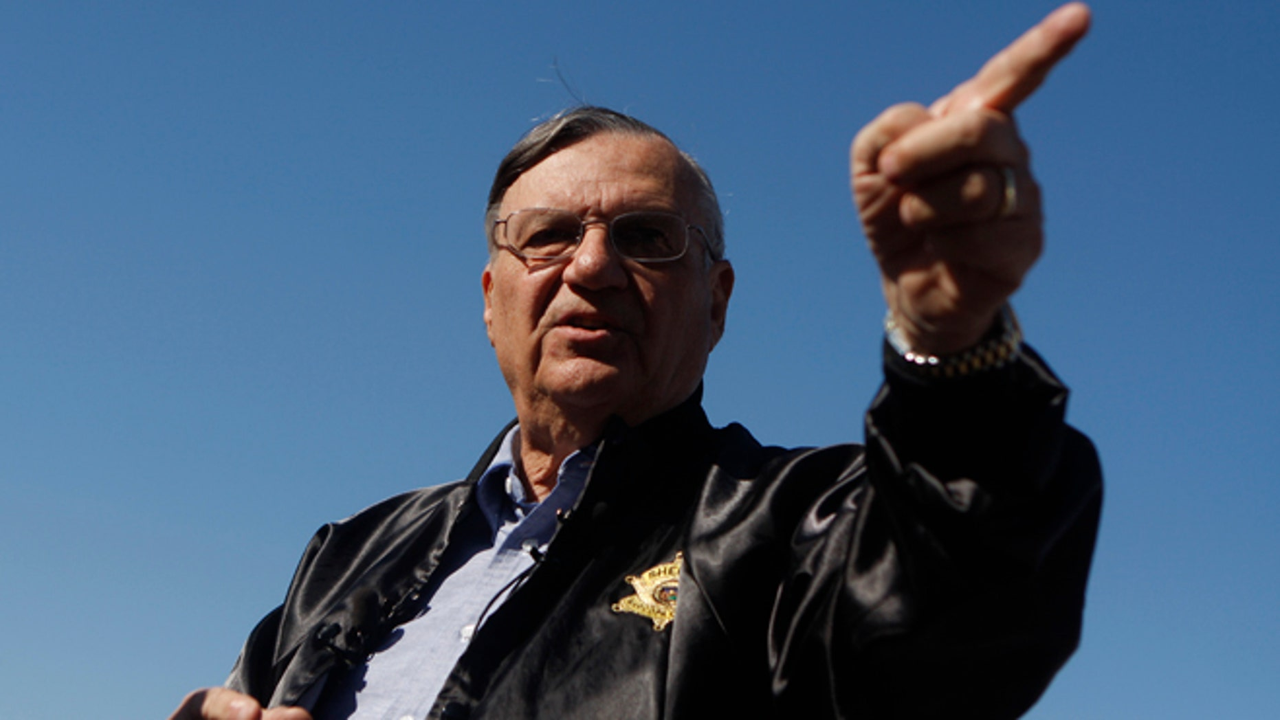 PHOENIX, AZ - APRIL 17:  Maricopa County Sheriff Officer Joe Arpaio gestures on April 17, 2009 in Phoenix, Arizona. Arpaio has been facing criticism from Hispanic activists and lawmakers, alleging that Arpaio's crackdown methods on illegal immigrants involve racial profiling. (Photo by Joshua Lott/Getty Images)