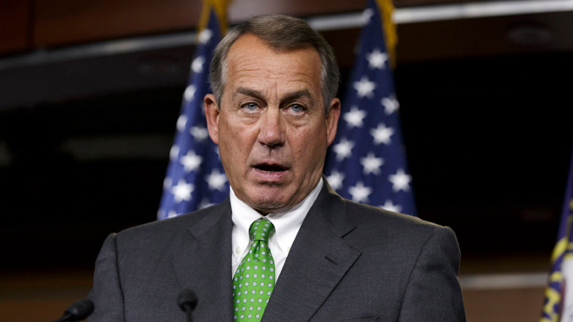 In this Thursday, Sept. 11, 2014 photo, House Speaker John Boehner of Ohio speaks during a news conference on Capitol Hill in Washington.