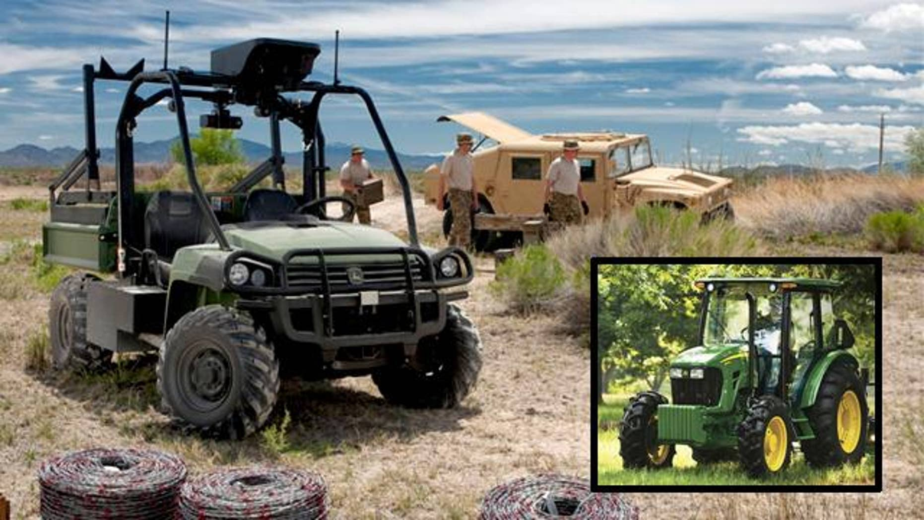 You probably know John Deere from its tractors and lawn mowers. But the storied American company also makes some killer military gear.