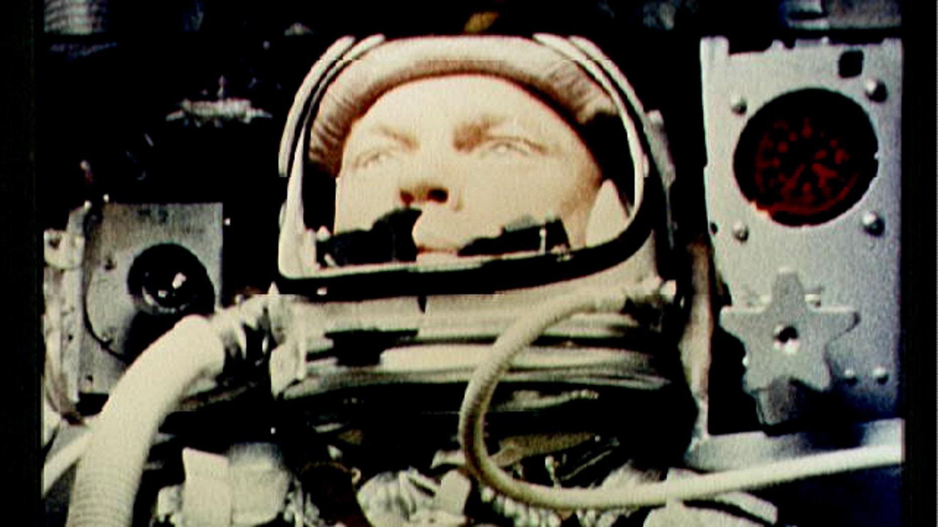 "A camera aboard ""Friendship 7"" photographs John Glenn during a spaceflight on February 26, 1962."