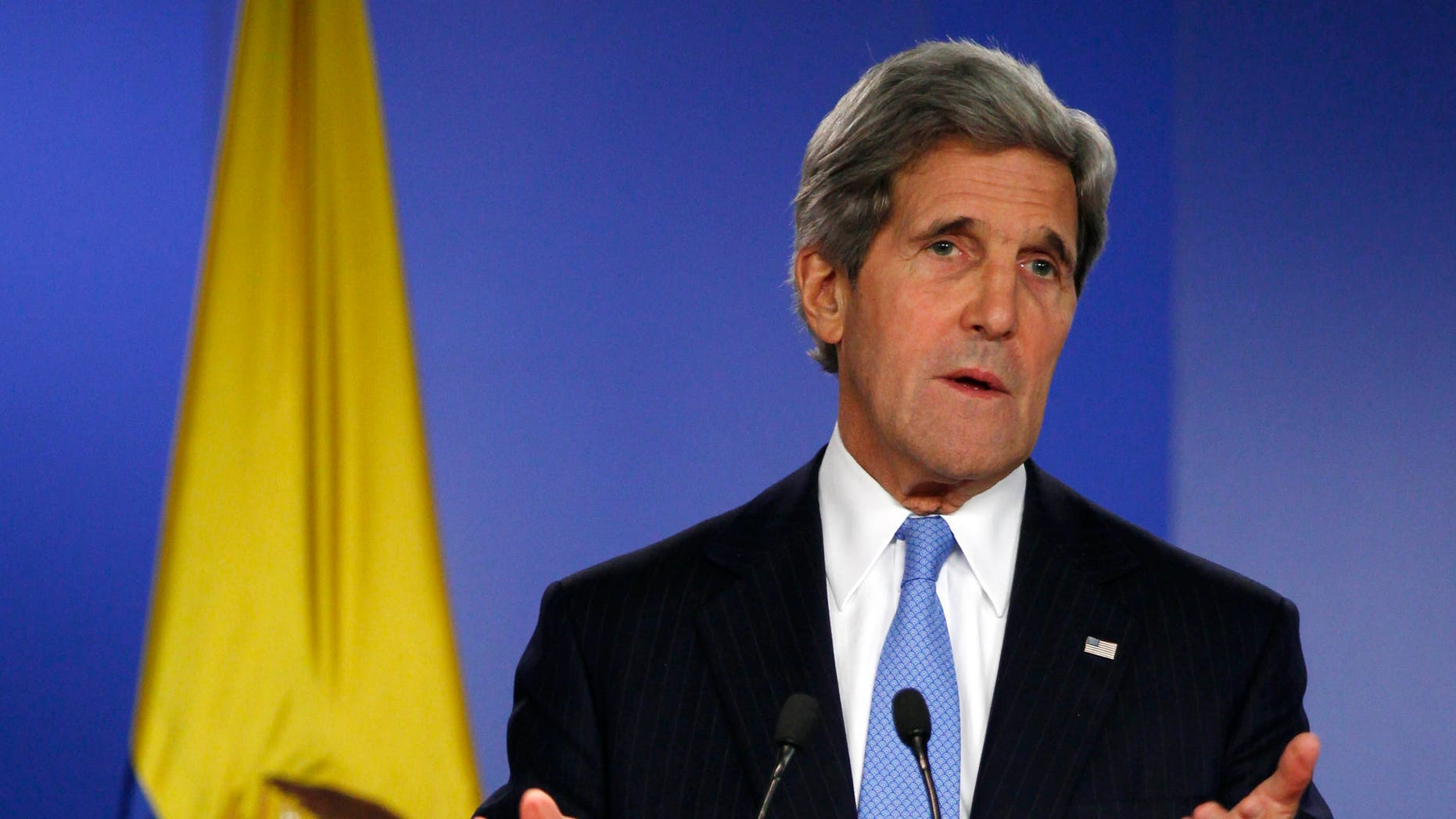 FILE: Aug. 12, 2013: Secretary of State John Kerry in Bogota, Columbia.
