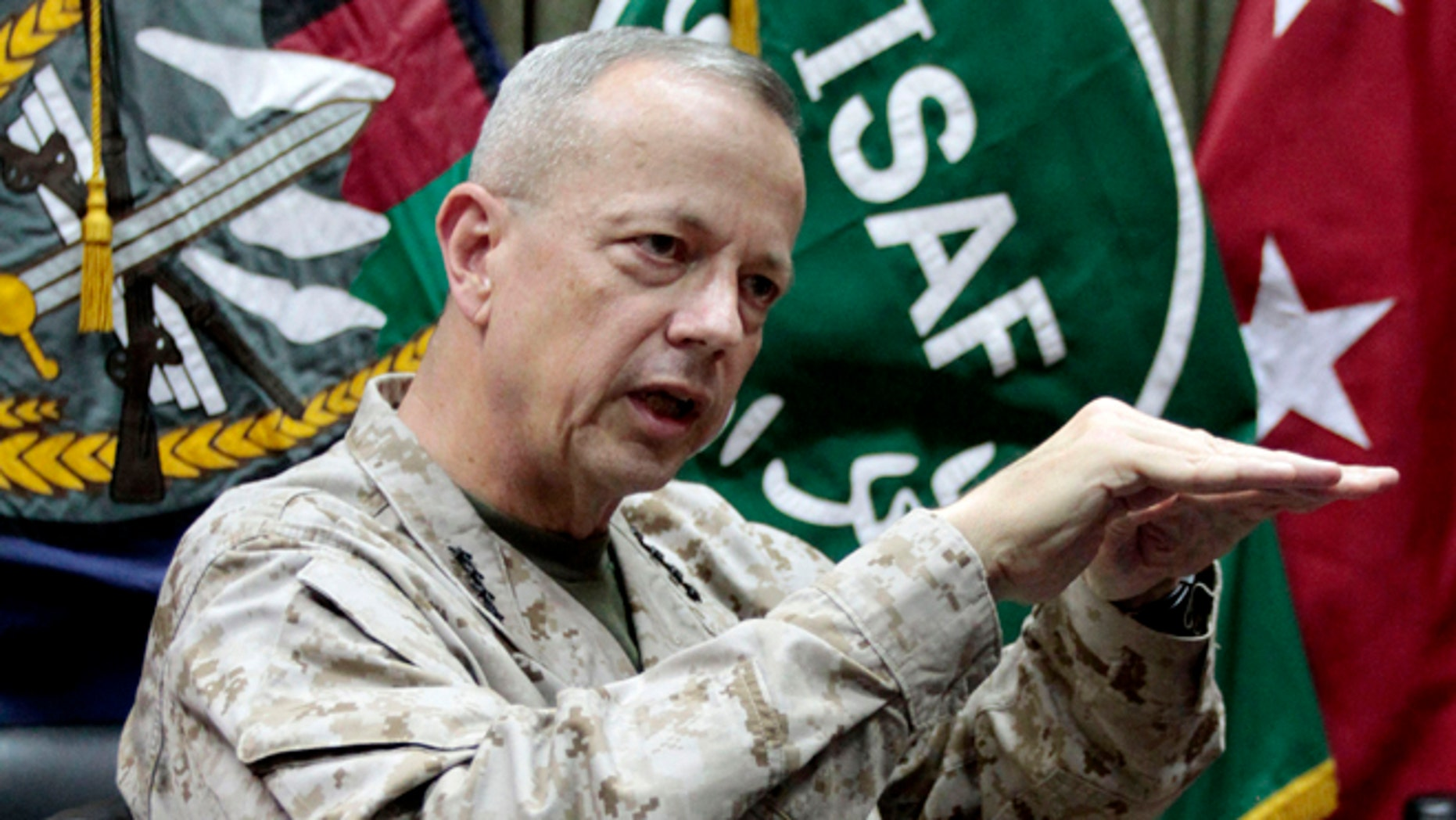 FILE: July 22, 2012: Gen. John Allen, top commander of the NATO-led International Security Assistance Forces and U.S. forces in Afghanistan during an interview in Kabul, Afghanistan.