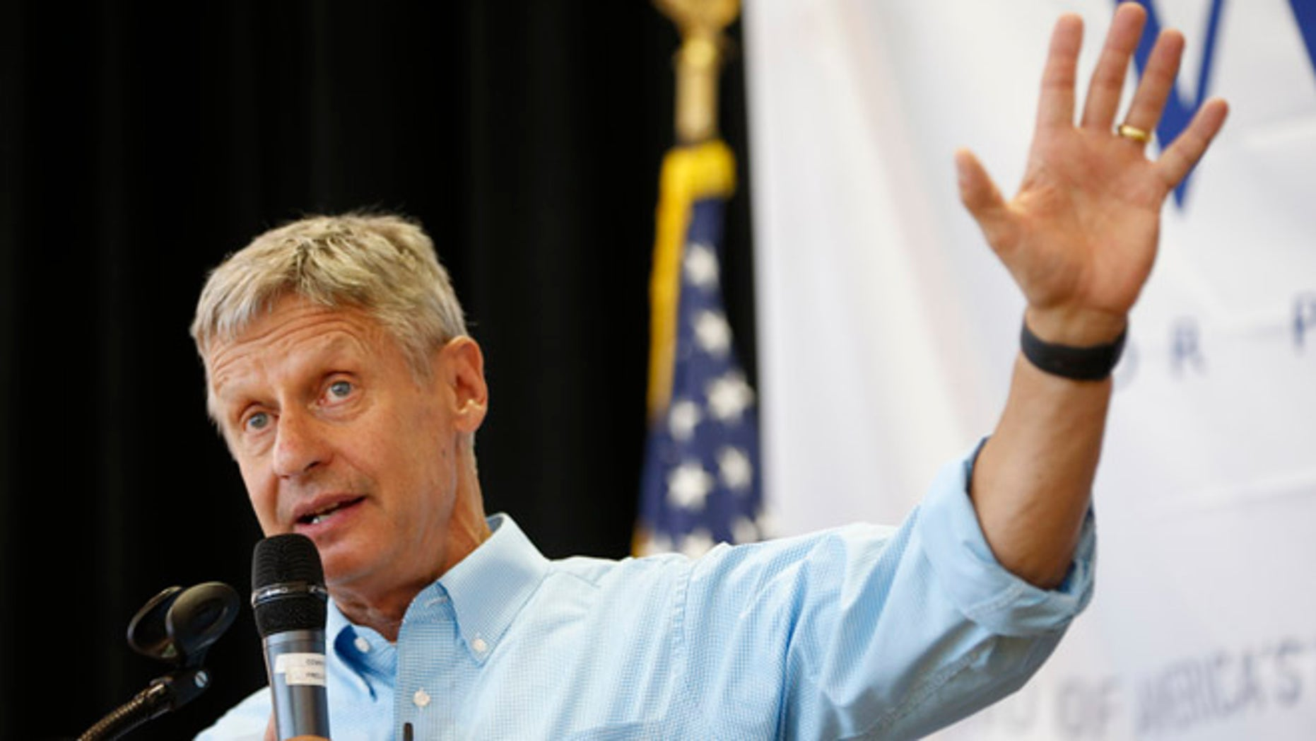 SALT LAKE CITY, UT - AUGUST 6: Libertarian presidential candidate Gary Johnson talks to a crowd of supporters at a rally on August 6, 2015 in Salt Lake City, Utah. Johnson has spent the day campaigning in Salt Lake City, the home town of former republican presidential candidate Mitt Romney.  (Photo by George Frey/Getty Images)