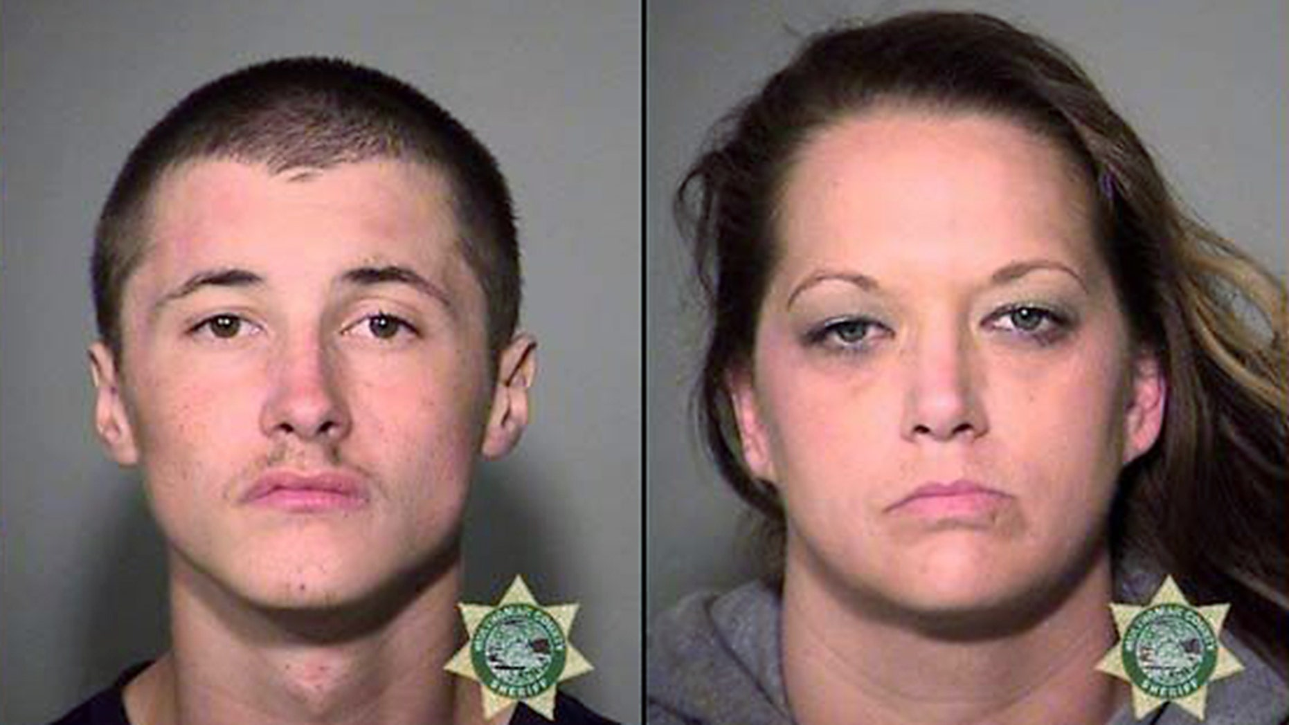 Corey Johnson, 21, was booked into the Multnomah County Jail on charges including unlawful use of a vehicle and attempt to elude. Stephanie Schramm, 38, was arrested on charges including unlawful use of a vehicle, interfering with a peace officer and possession of methamphetamine. (Gresham Police Department)