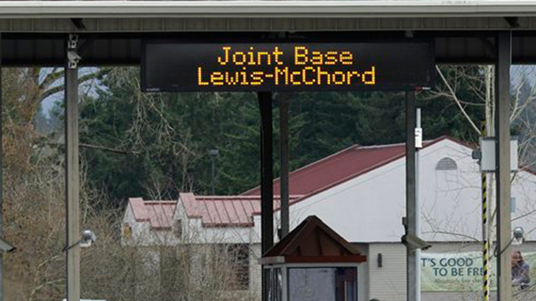 Mar. 11, 2012: A guarded gate at Joint Base Lewis McChord is shown.