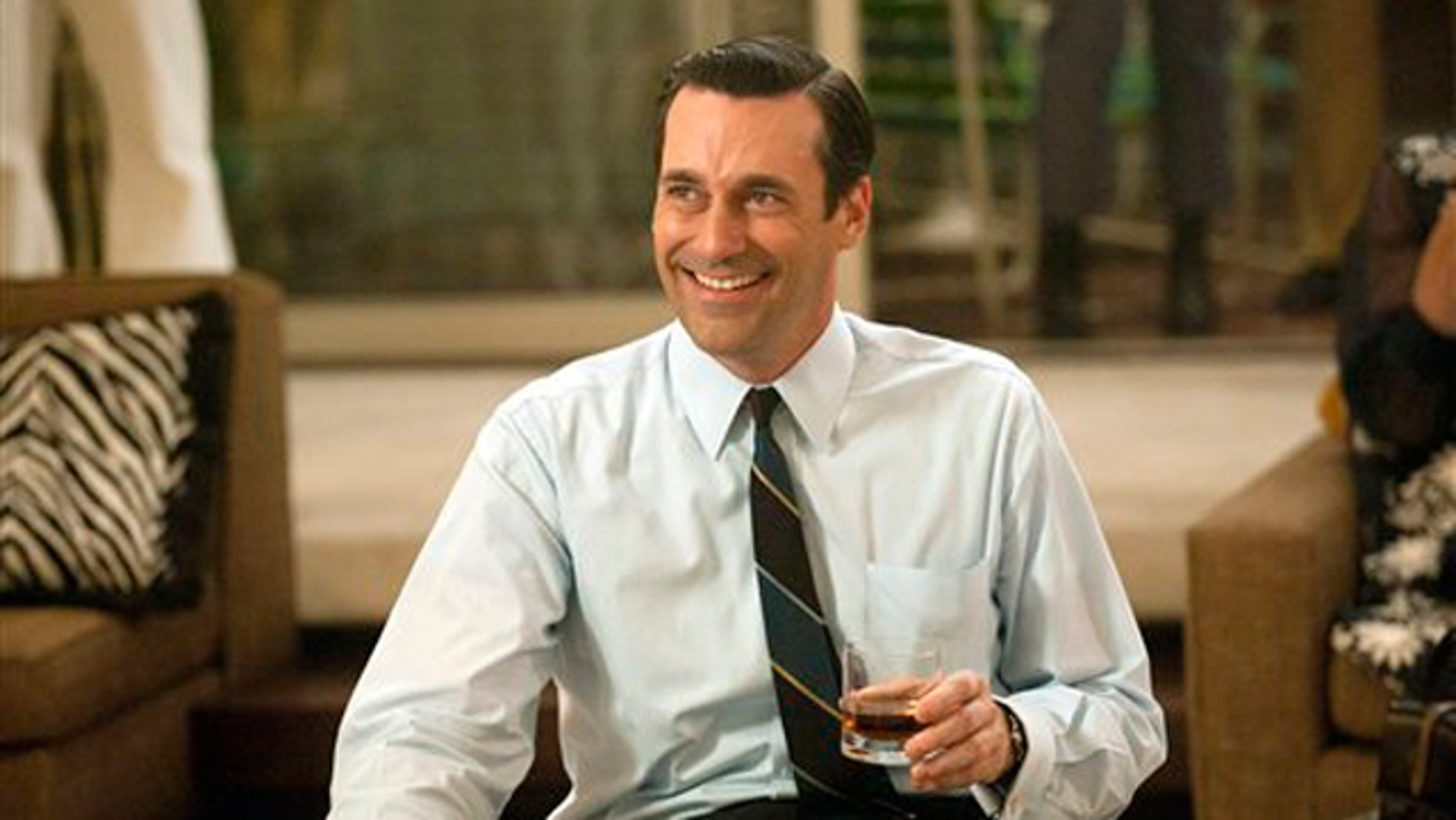 In this image released by AMC, Jon Hamm portrays advertising executive Don Draper in a scene from the fifth season premiere of 'Mad Men.'