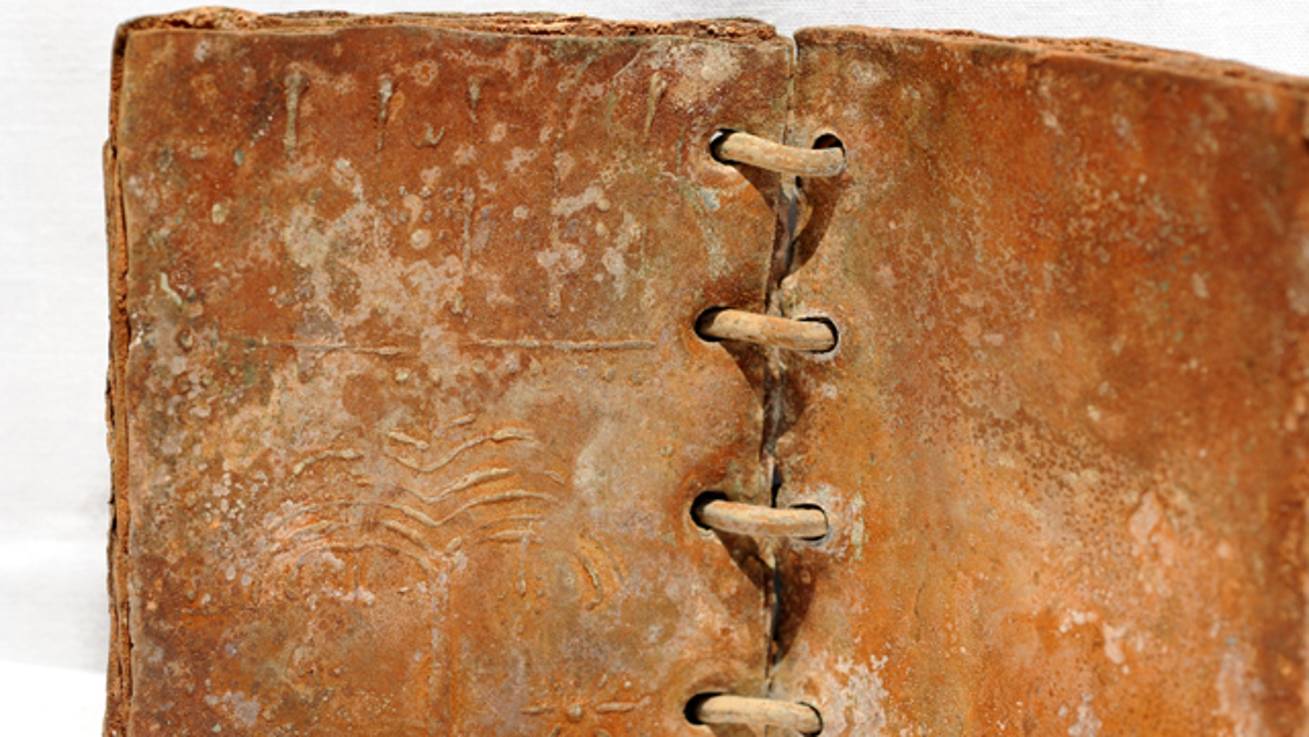 This artifact was one of 70 ring-bound books, or codices, made of lead and copper that was part of a secret hoard of ancient sealed books found in Jordan.