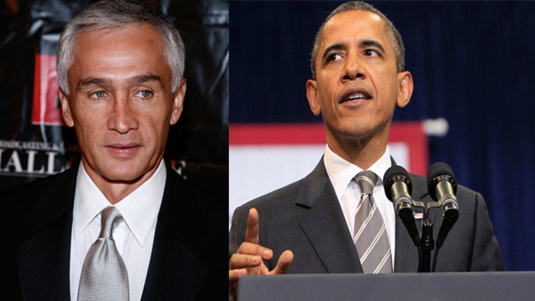 (Left) Jorge Ramos, Univision Anchor, and (Right) President Barack Obama.