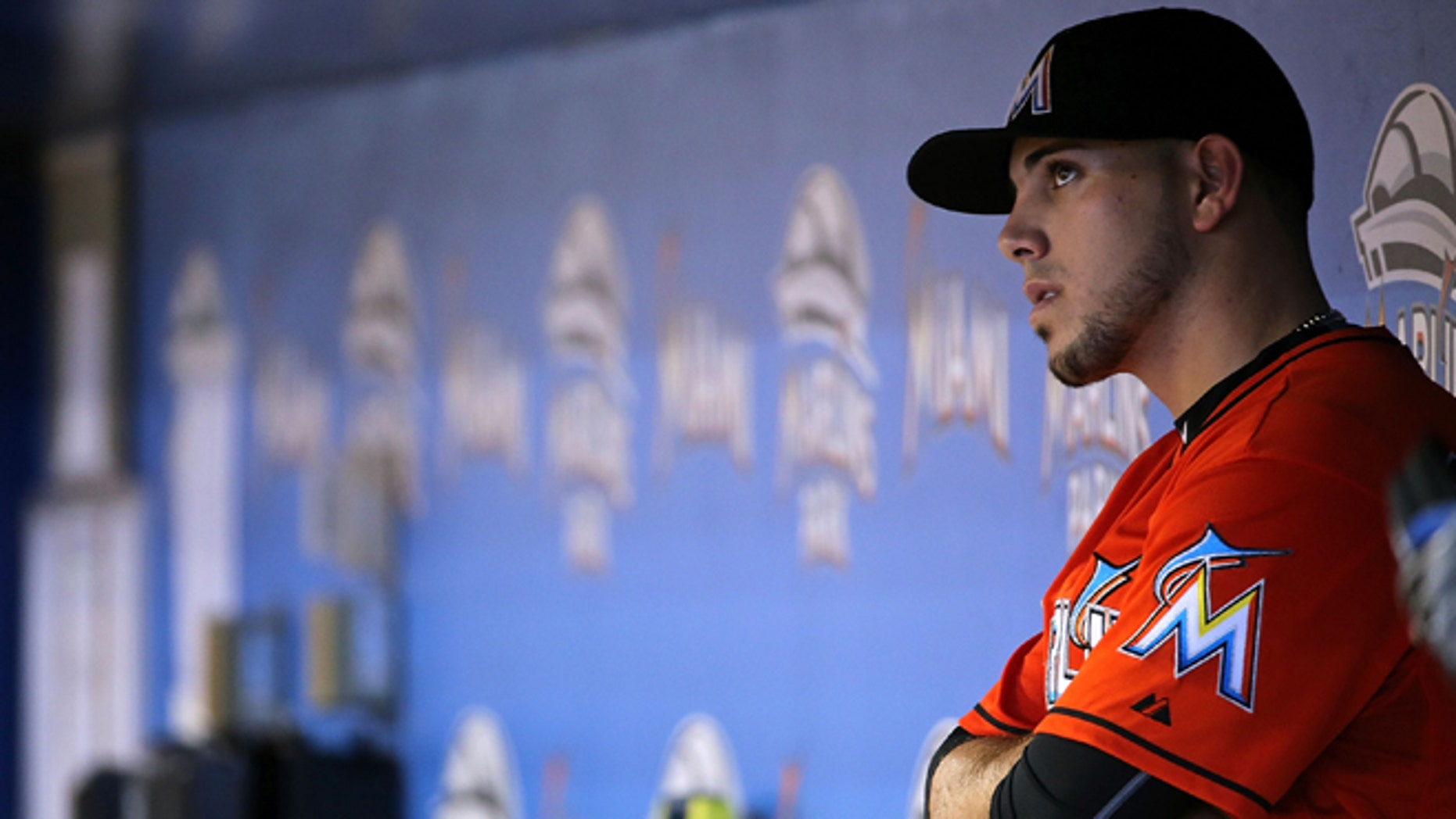 MIAMI, FL - JULY 02:  Jose Fernandez #16 of the Miami Marlins looks on during a game against the San Francisco Giants at Marlins Park on July 2, 2015 in Miami, Florida.  (Photo by Mike Ehrmann/Getty Images)