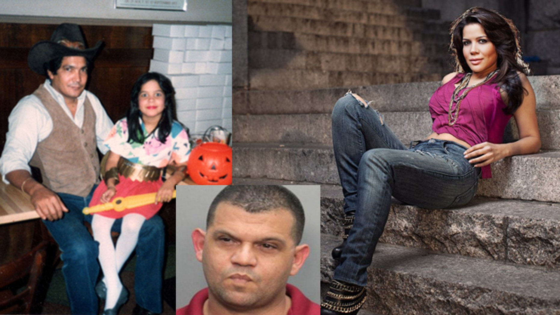 Left: José and Joselyn Martinez, Halloween 1985. Right: Joselyn Martinez today. Inset: Justo Santos' mug shot from 2013.