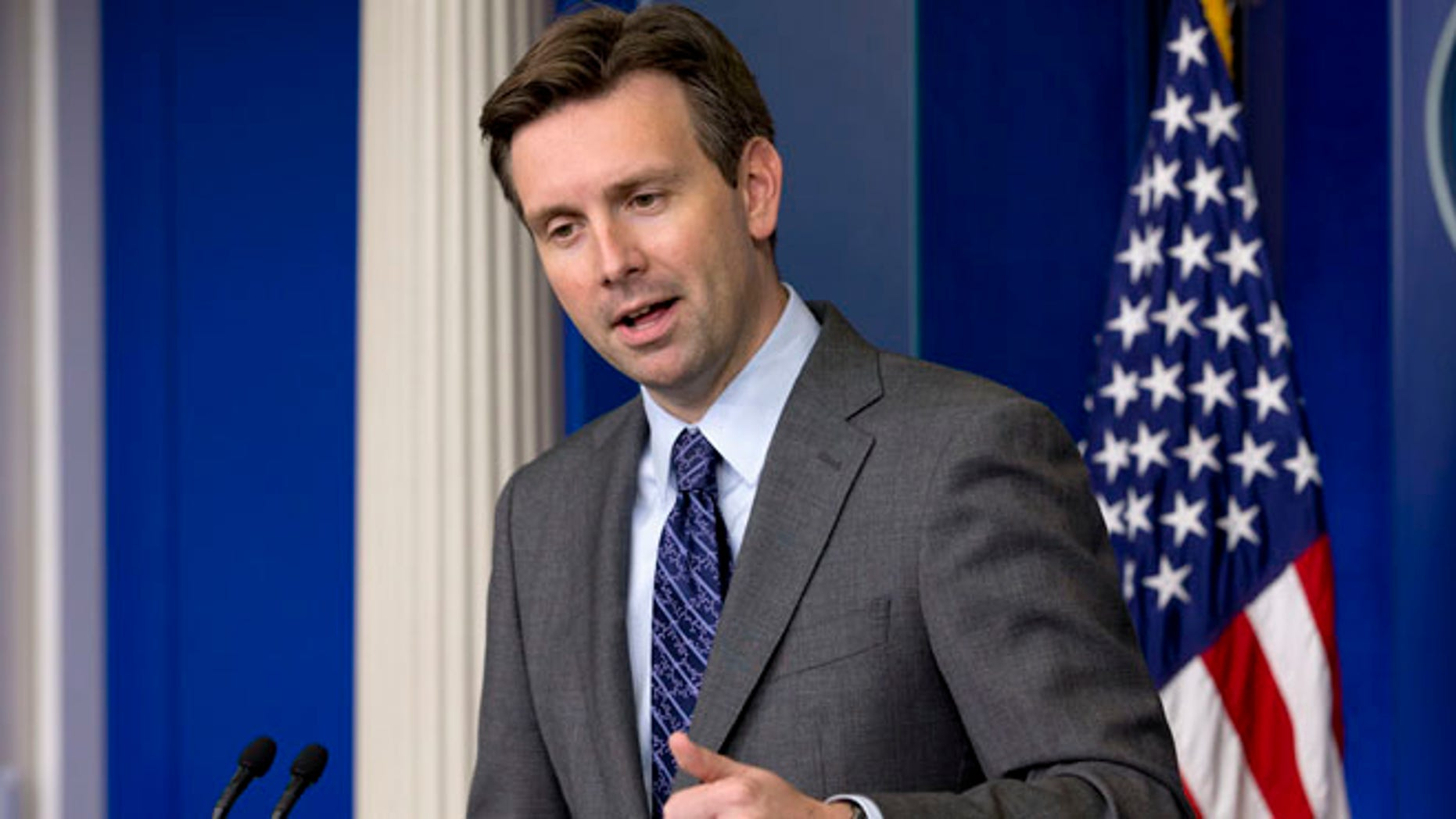 White House press secretary Josh Earnest speaks during his daily news briefing at the White House in Washington, Tuesday, July 15, 2014.