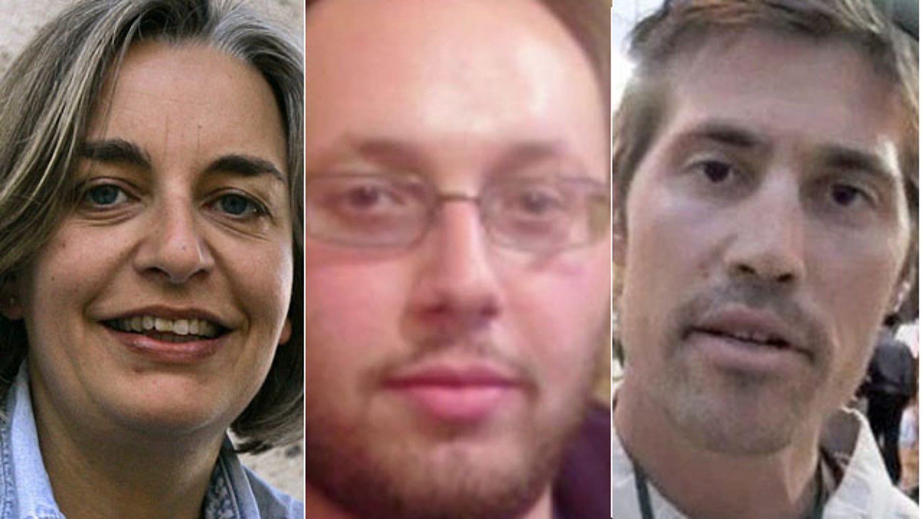These photos show, from left, Associated Press photographer Anja Niedringhaus, and freelance journalists Steven Sotloff and James Foley, all of whom were killed on assignment in 2014 Niedringhaus was shot while covering Afghanistan's presidential election, while Sotloff and Foley were beheaded by the ISIS terror group in Syria. (AP Photo/Peter Dejong, File)