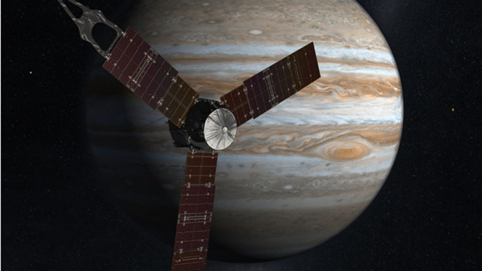 This undated image released by NASA shows an artist rendering of the Juno spacecraft circling Jupiter.