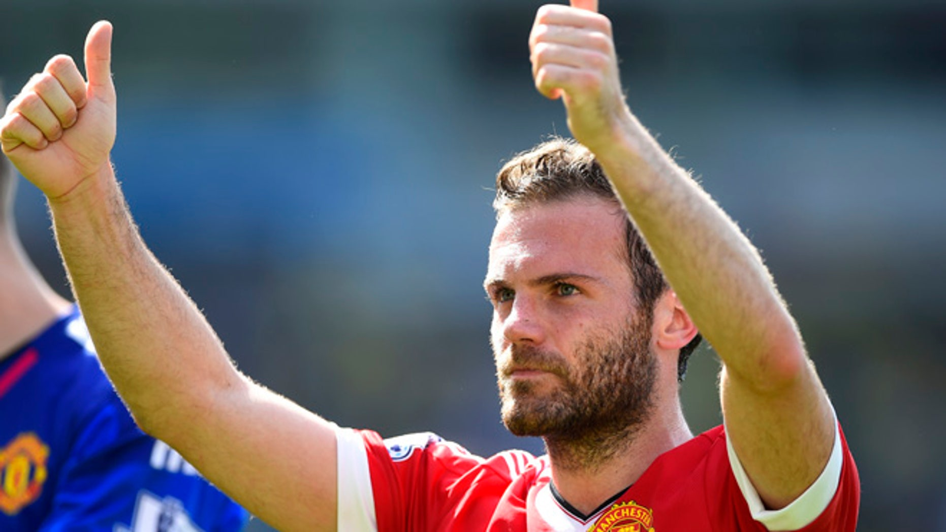 NORWICH, ENGLAND - MAY 07:  Juan Mata of Manchester United celebrates his team's 1-0 win in the Barclays Premier League match between Norwich City and Manchester United at Carrow Road on May 7, 2016 in Norwich, England.  (Photo by Mike Hewitt/Getty Images)