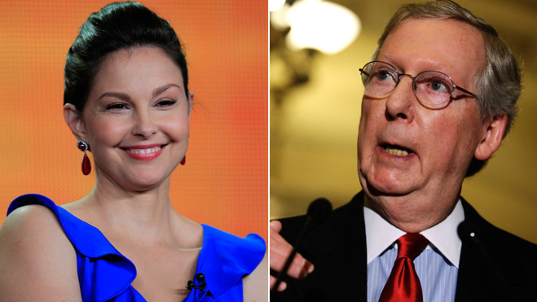 FILE: Undated: Actress Ashley Judd and Kentucky Republican Sen. Mitch McConnell.
