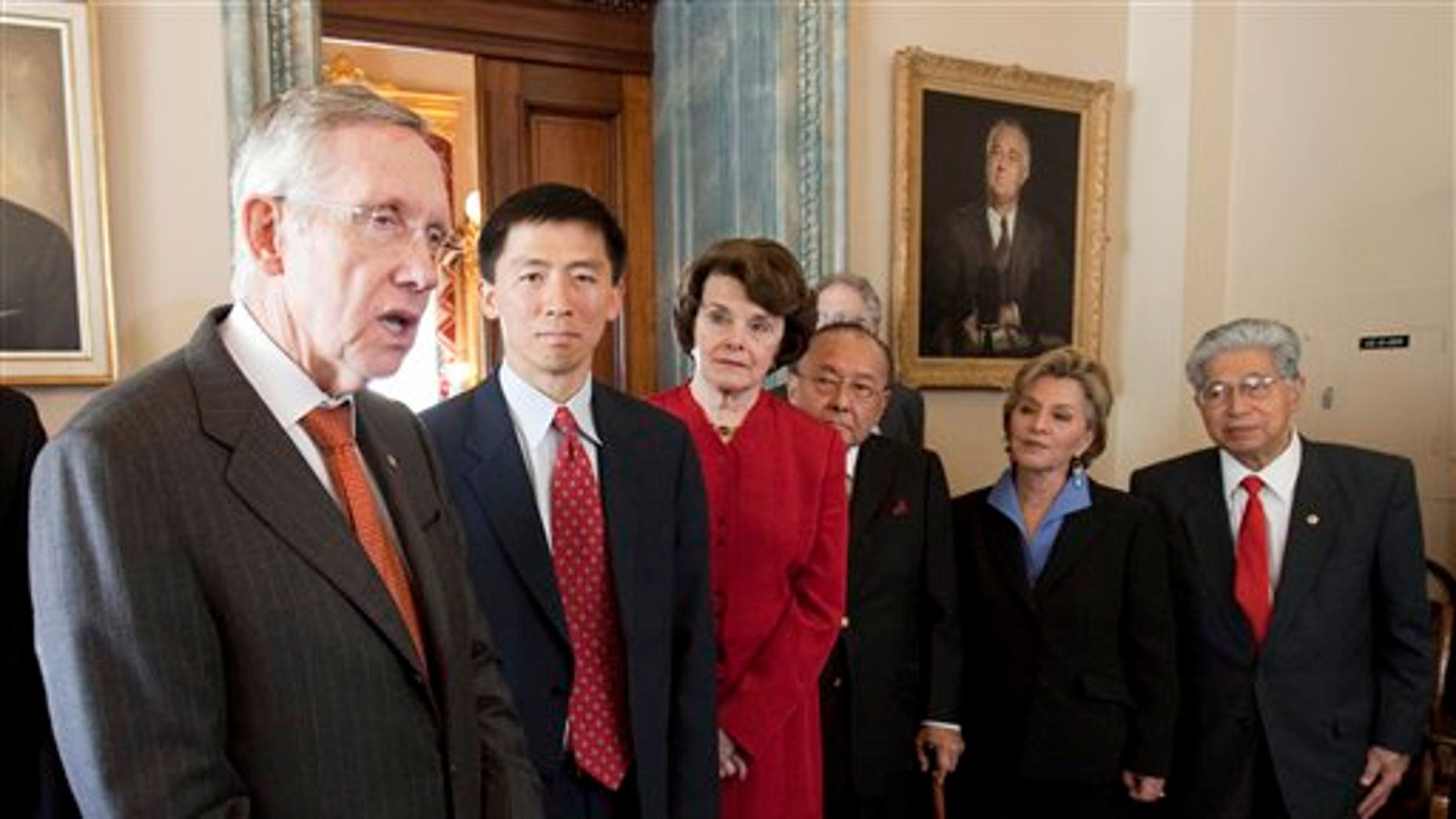 Senate Majority Leader Harry Reid, D-Nev., with judicial nominee Goodwin Liu, and Sens. Diane Feinstein, D-Calif., Daniel Inouye, D-Hi., Barbara Boxer, D-Calif., and Daniel Akaka, D-Hi. where Reid talked, Wednesday, May 18, 2011 in Washington. (AP)