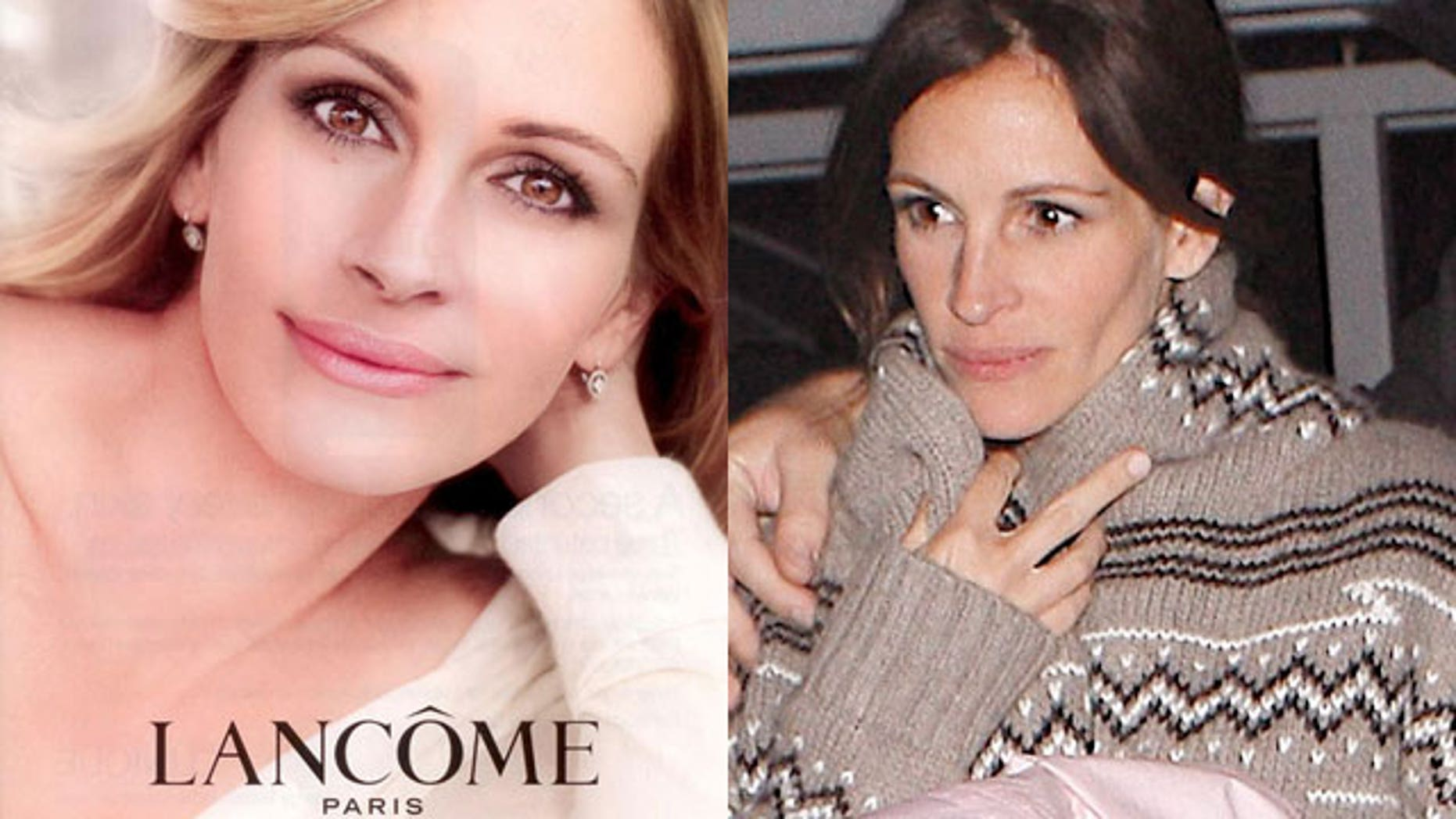 Julia Roberts in her Lancome ads and (right) walking on the street. (L'OReal/X17)