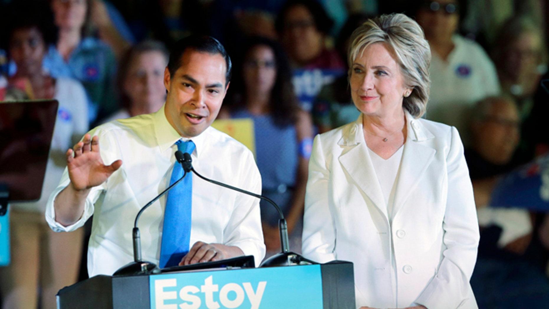 Secretary Julian Castro and Hillary Rodham Clinton on Oct. 15, 2015.