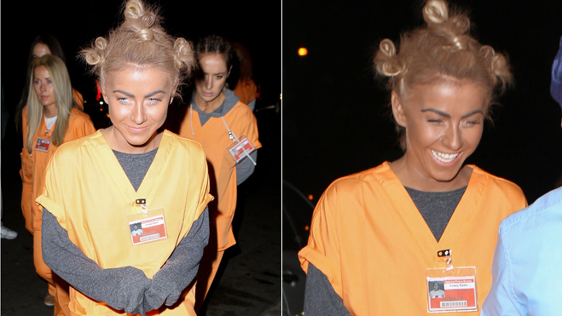 """Julianne Hough and her gal pals dressed up as the jailbirds from the Netflix hit """"Orange is the New Black."""" Hough was slammed for donning a """"black face"""" costume."""