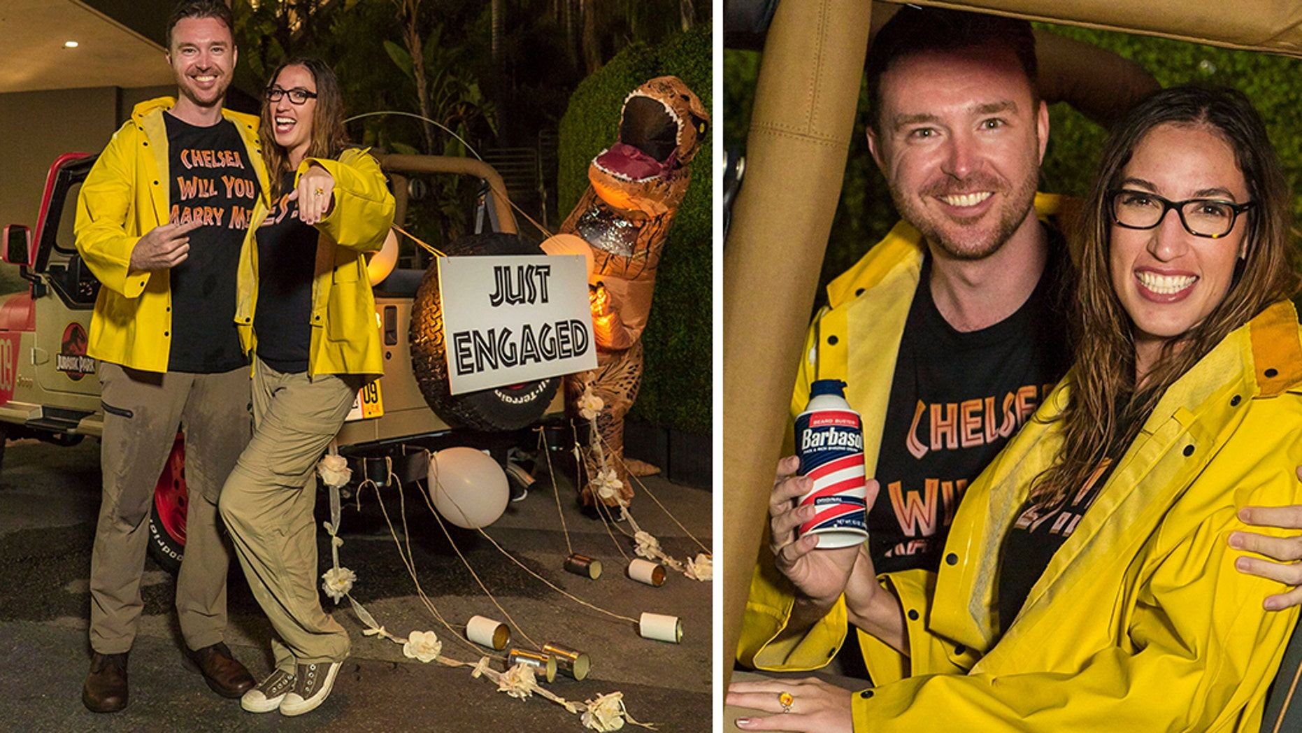 """A """"Jurassic Park"""" obsessed couple broke the record for most consecutive rises at Universal Studios...and got engaged during the process."""